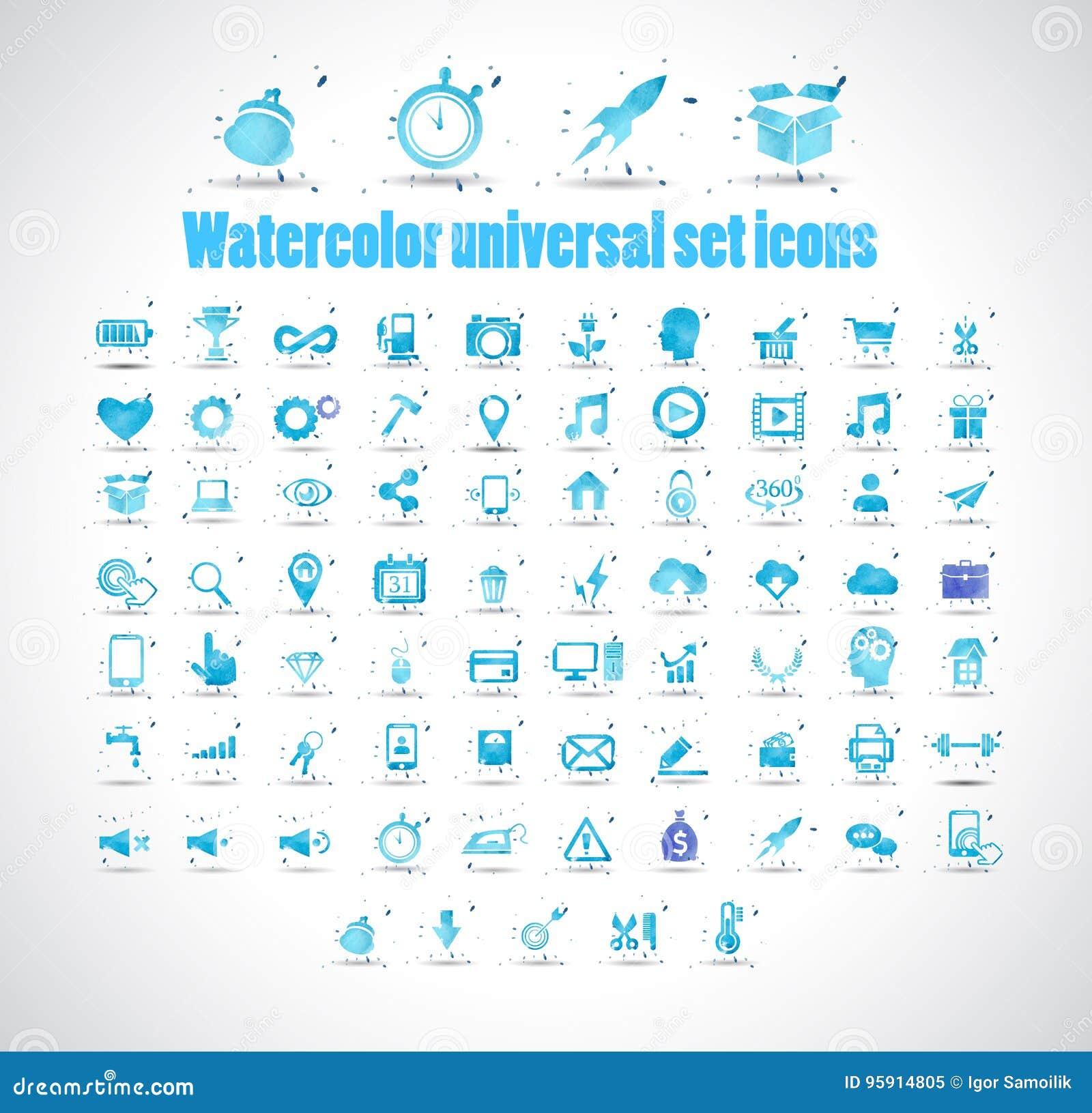 Symboler för universell uppsättning för vattenfärg på den vita bakgrundsvektorillustrationen