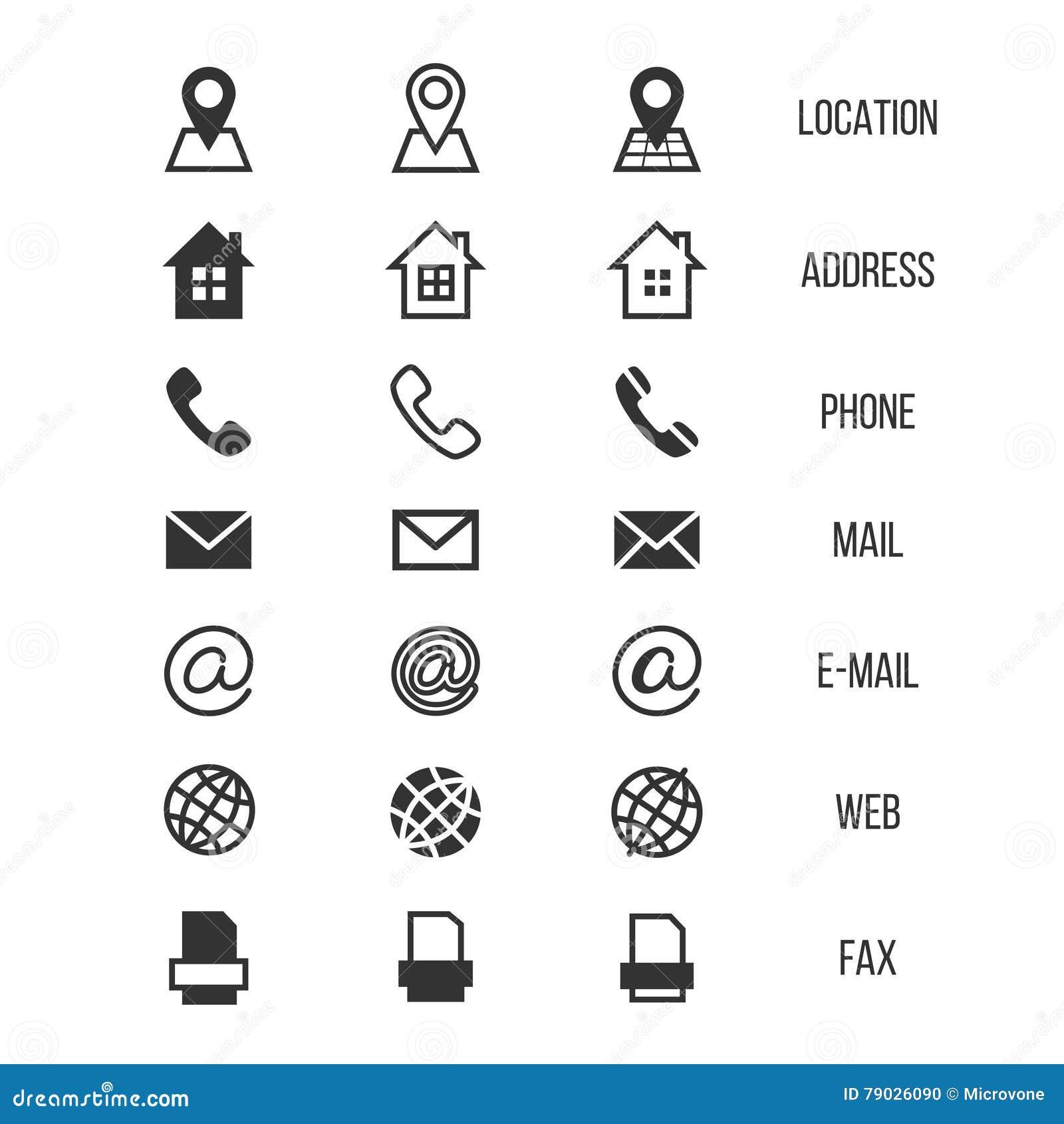 Symboler för vektor för affärskort, hem, telefon, adress, telefon, fax, rengöringsduk, lägesymboler