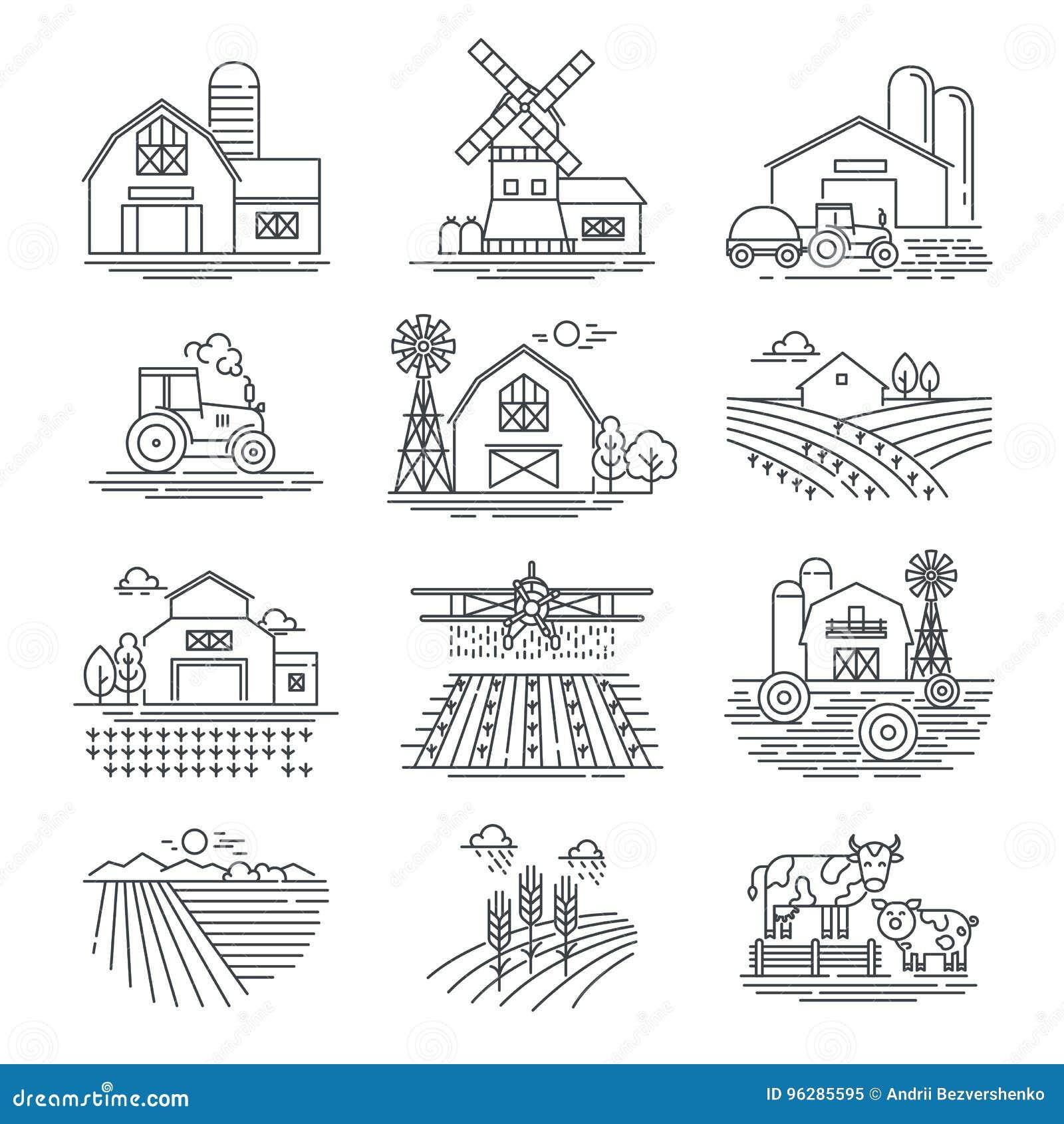 Symboler för vektor för lantgård- och lantbrukfält linjära på vit bakgrund Lantbruk- och jordbruklivbegrepp
