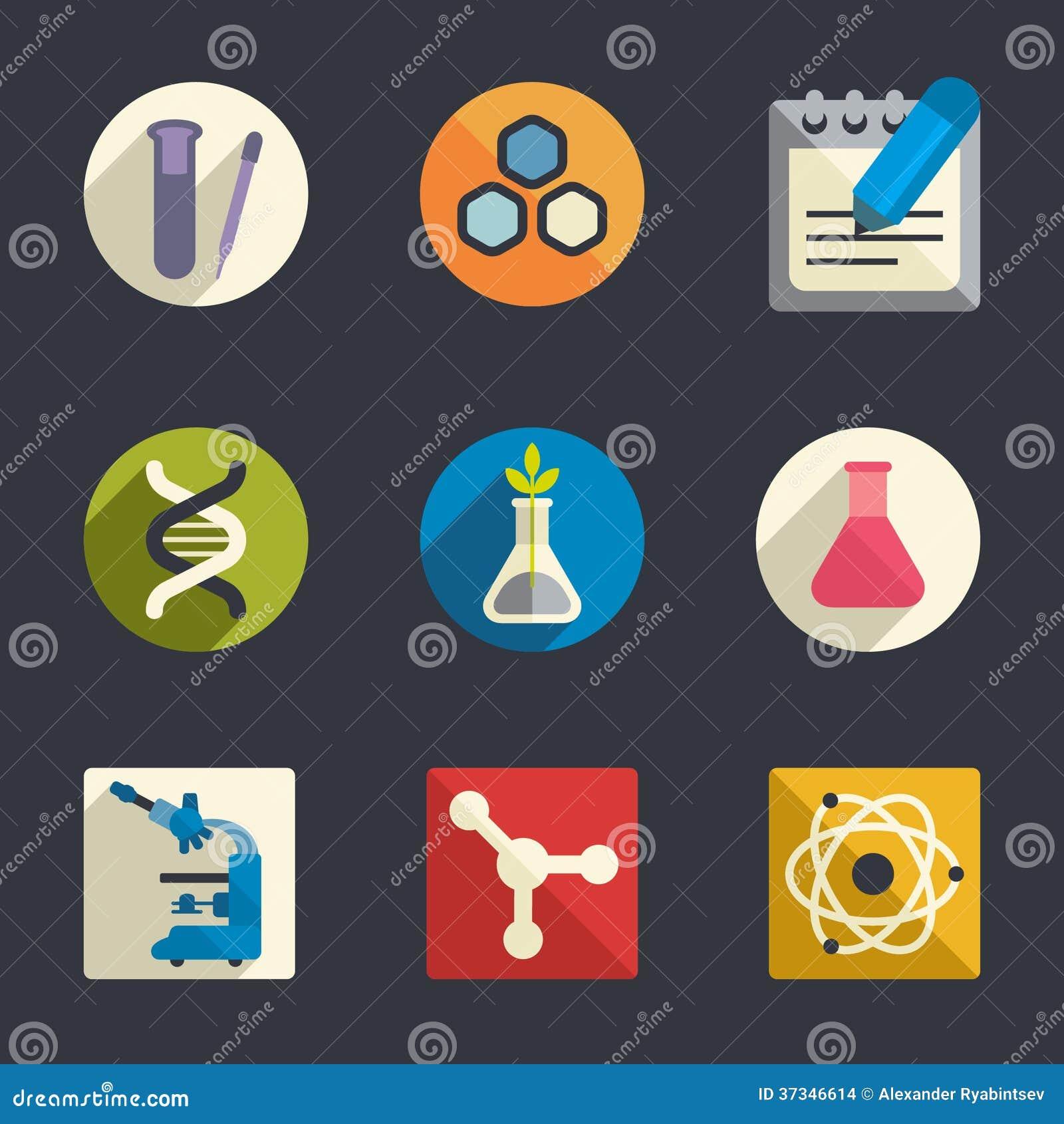 Symboler för vetenskapstemalägenhet