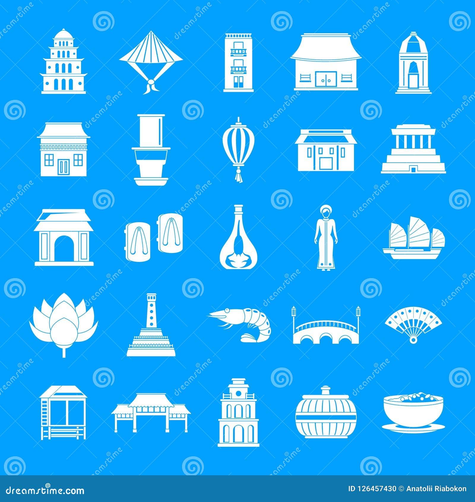 Symboler för Vietnam loppturism ställde in enkel stil