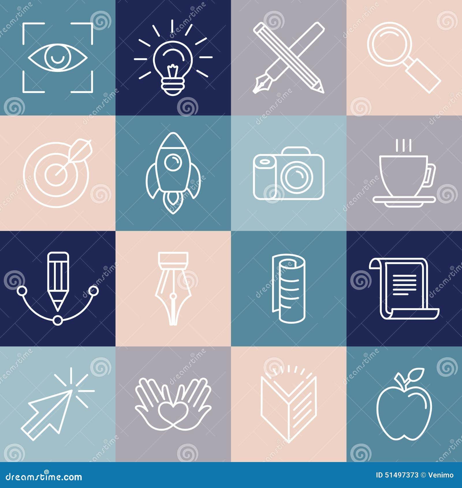 Symboler och emblem för grafisk formgivare för vektor i linjär stil