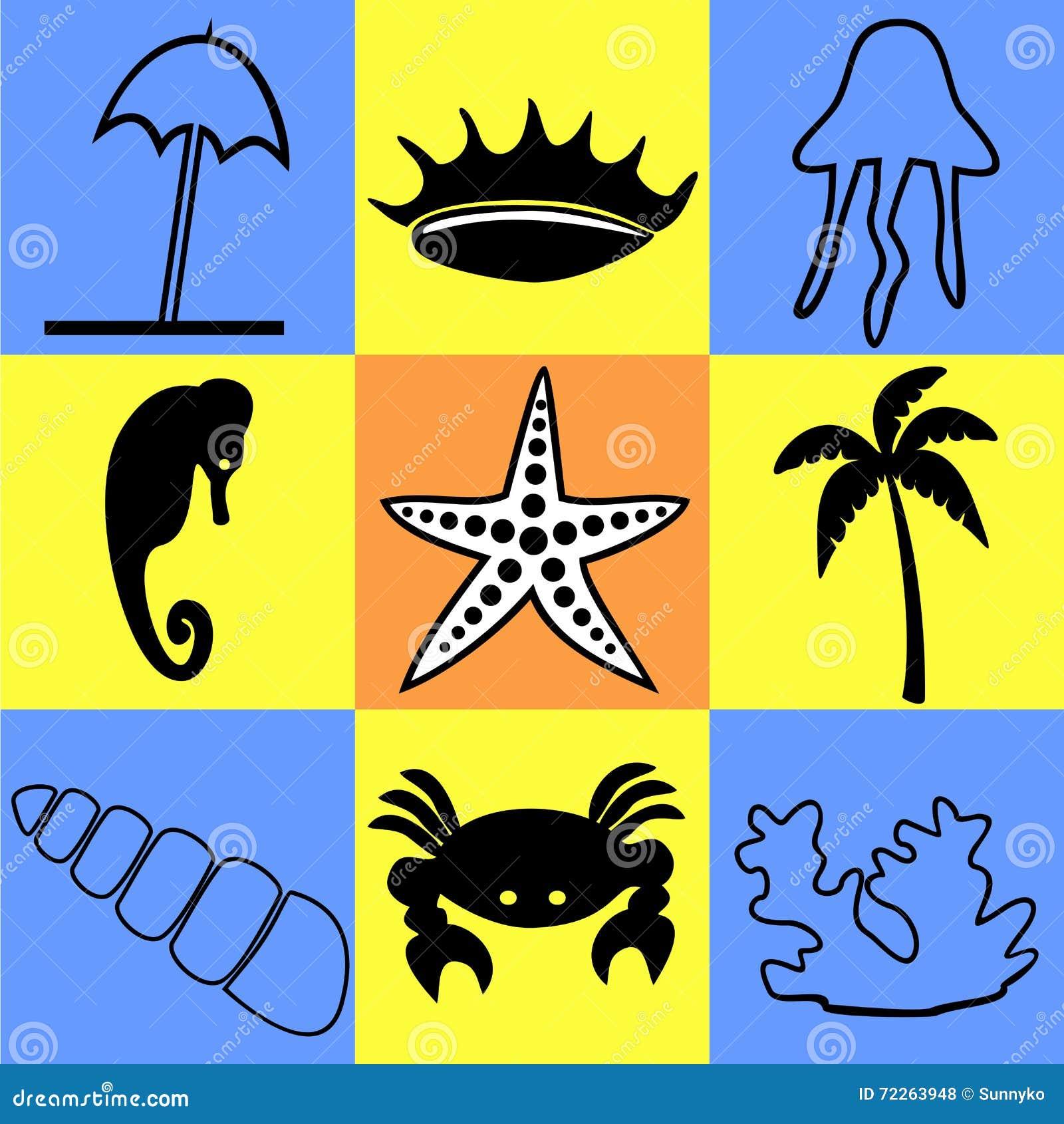 Symboler på ett tema av havet och det marin- livet