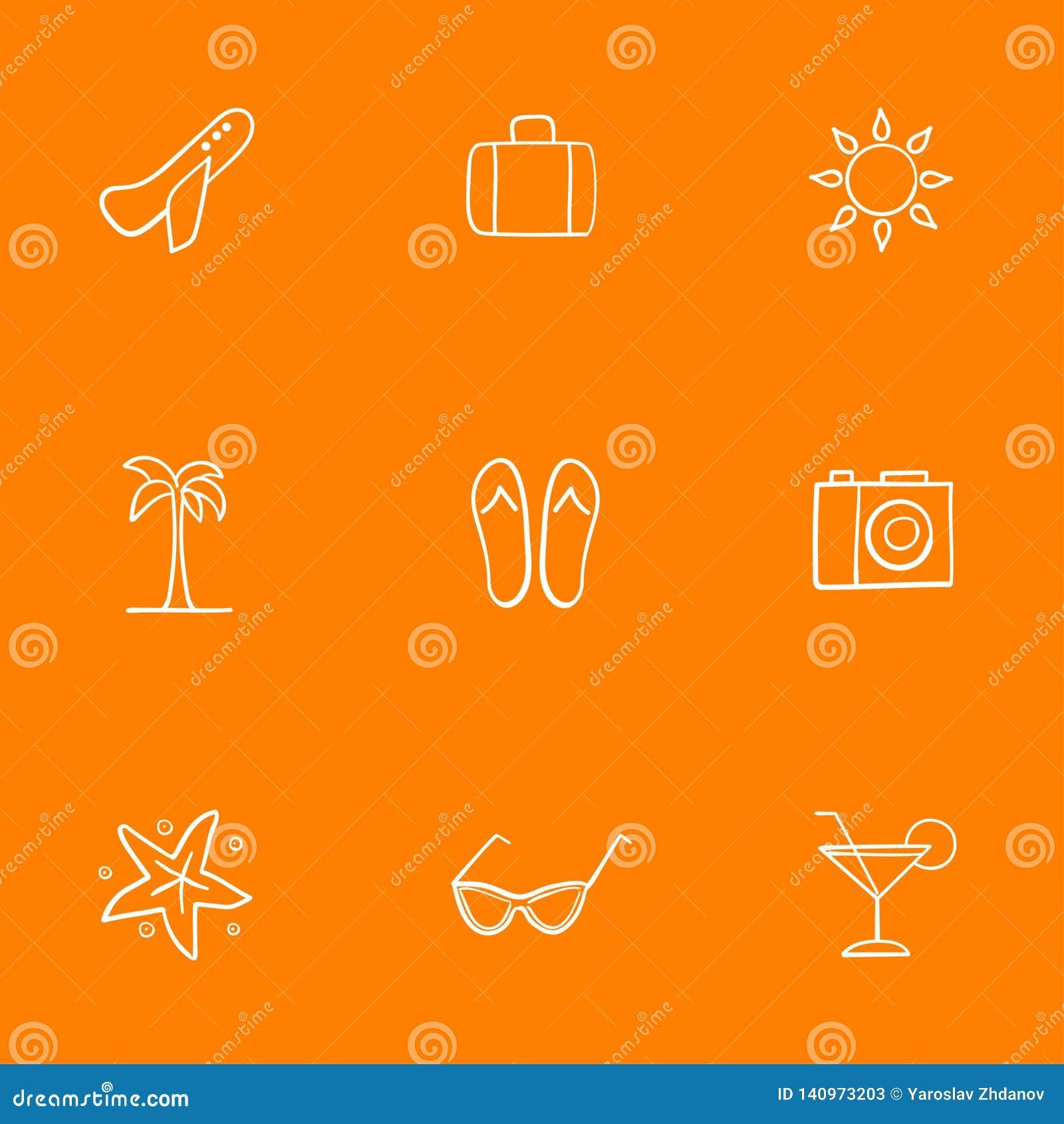 Symboler på temat av semestern och rekreation Tillbehör för strandferier i varma länder seamless modell var kan formgivare varje
