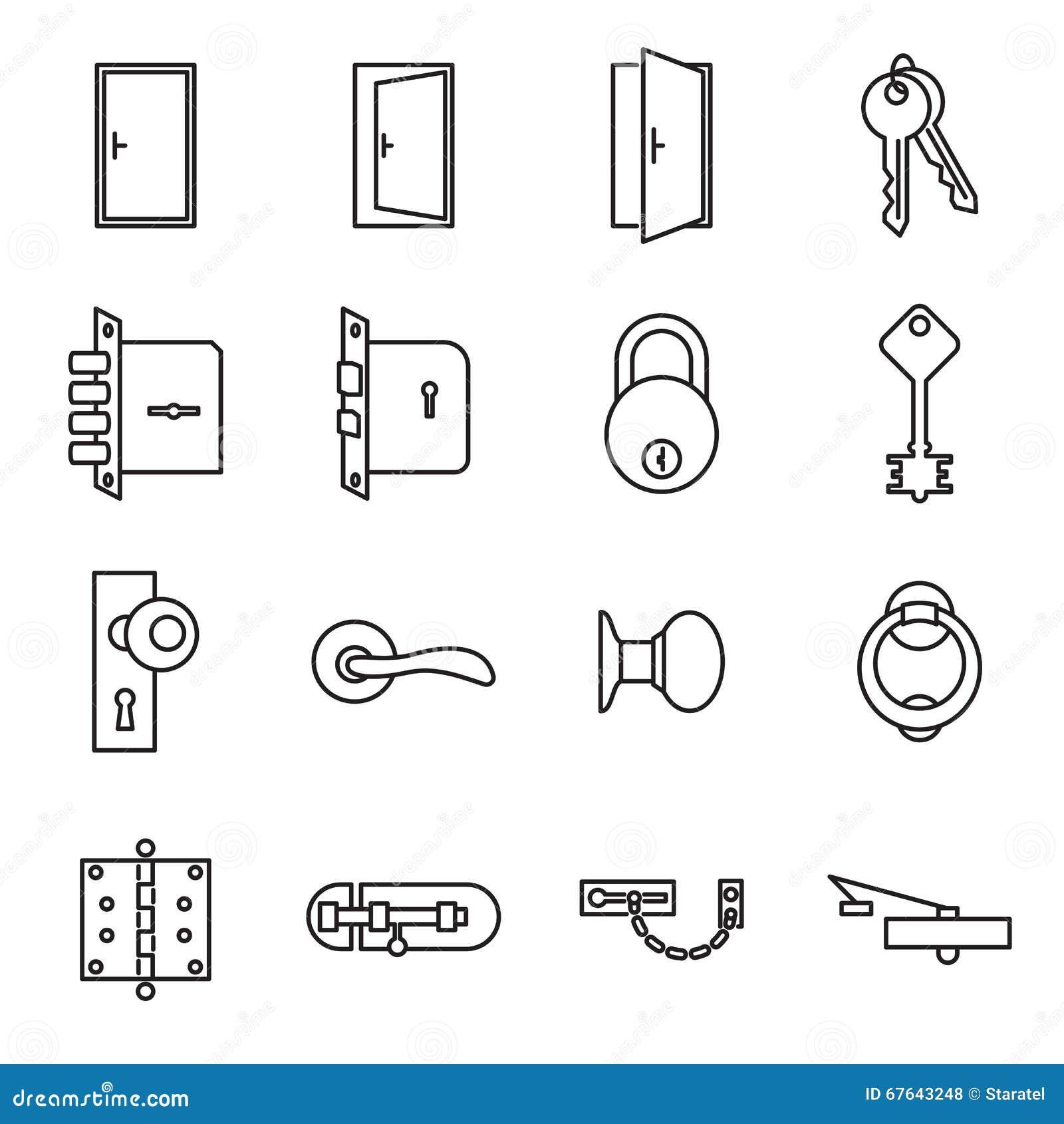 Symboler Släkta Dörrar Och Lås Vektor Illustrationer - Bild: 67643248