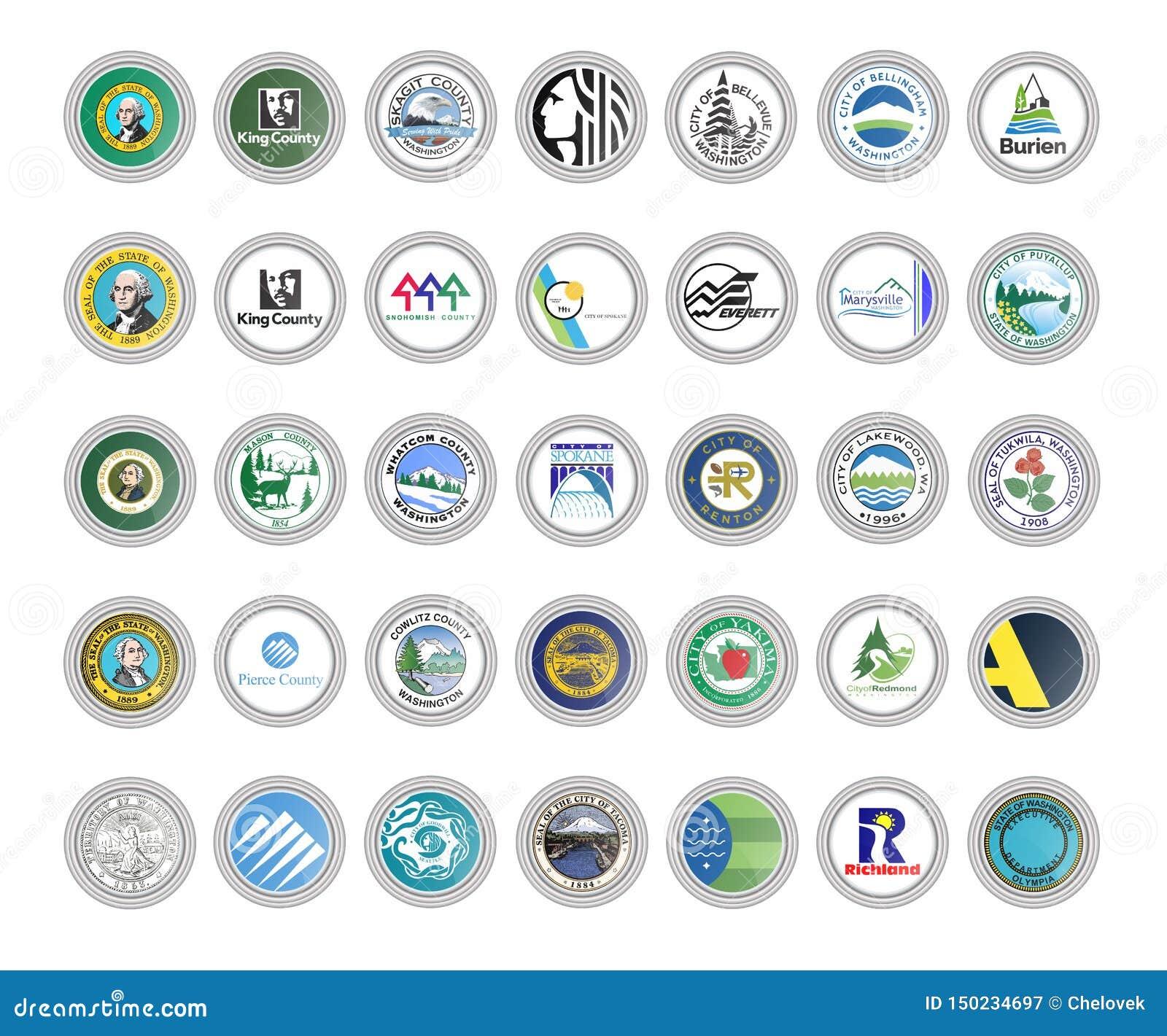 Symboler st?llde in vektorn Flaggor av staten Washington, USA