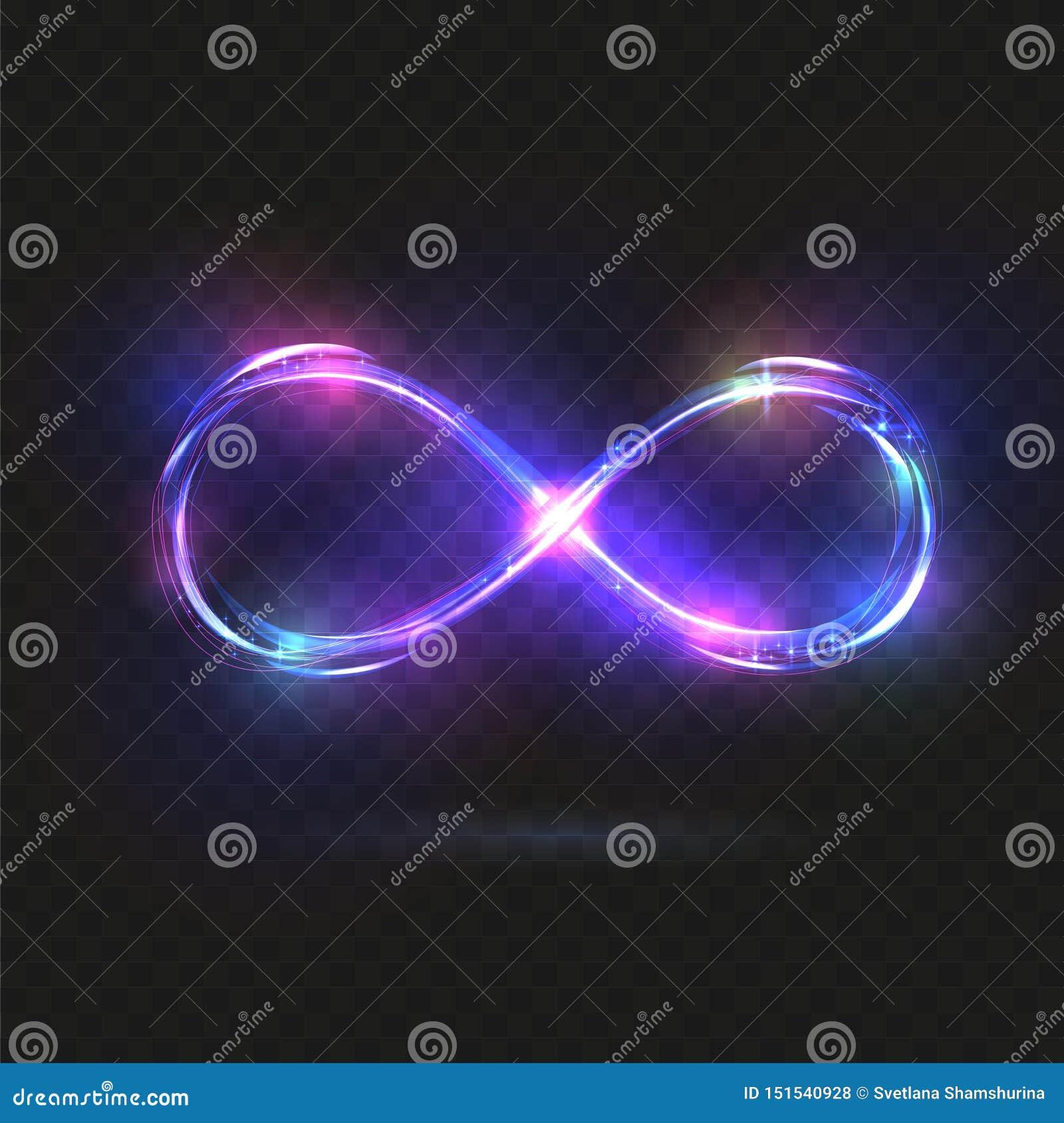 Symboles brillants pourpres d infini Signes lumineux bleus et violets Lignes de scintillement dynamiques ?l?ments de conception I