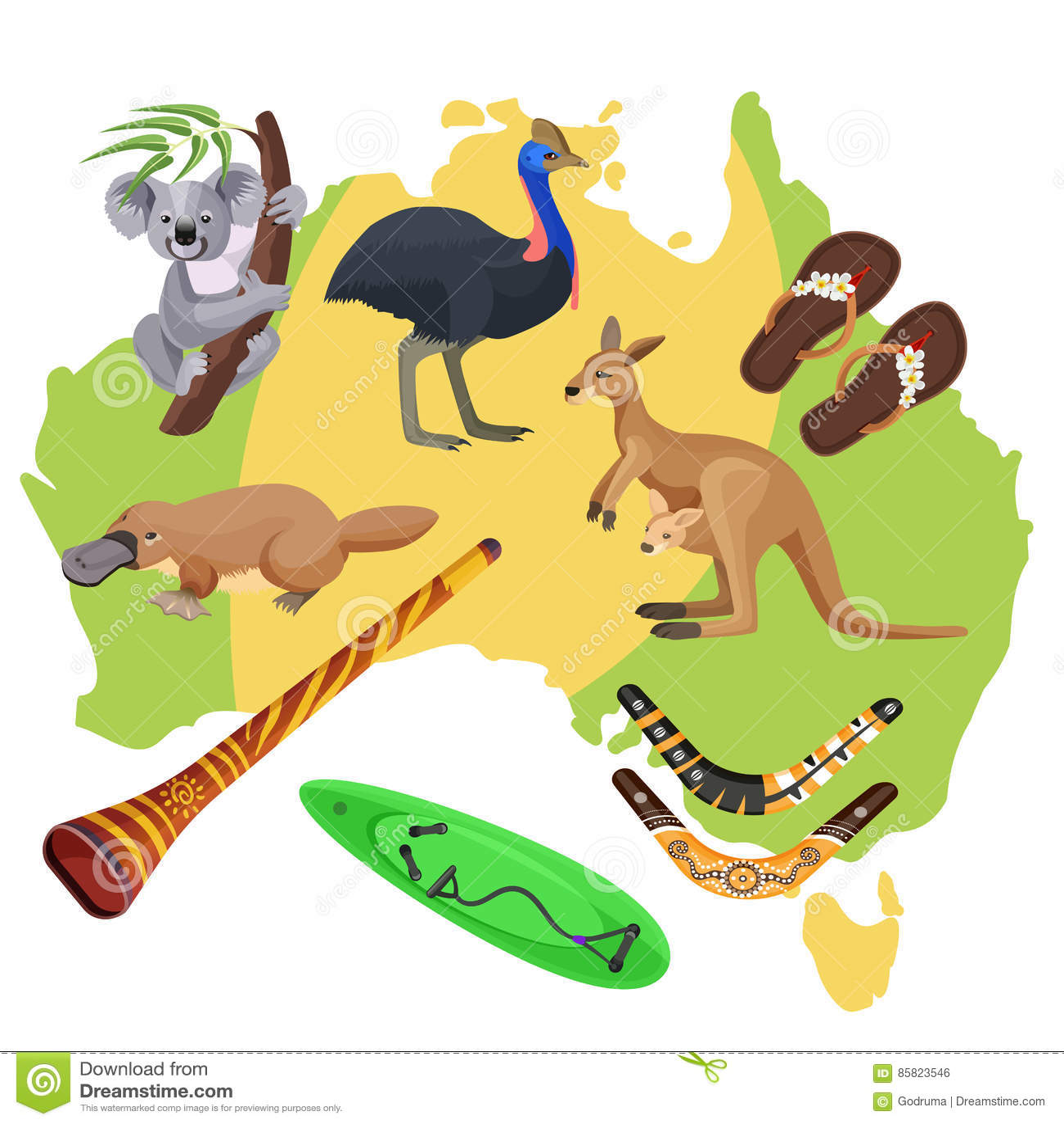 Carte Australie Surf.Symboles D Australie Sur La Carte Koala Kangourou Planche