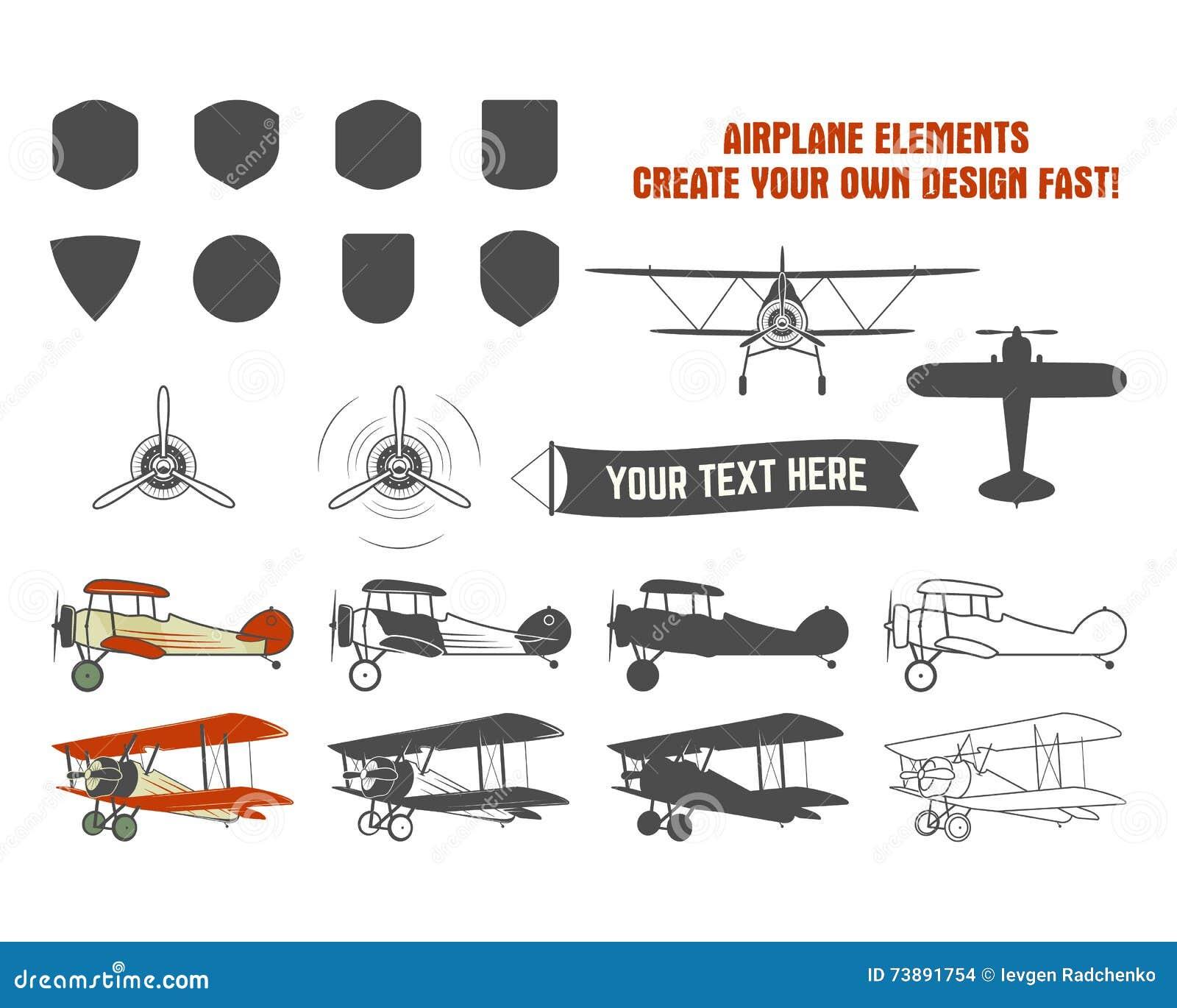 Symboles d avion de vintage Labels de graphique de biplan Rétros insignes plats, éléments de conception Collection de timbres d a