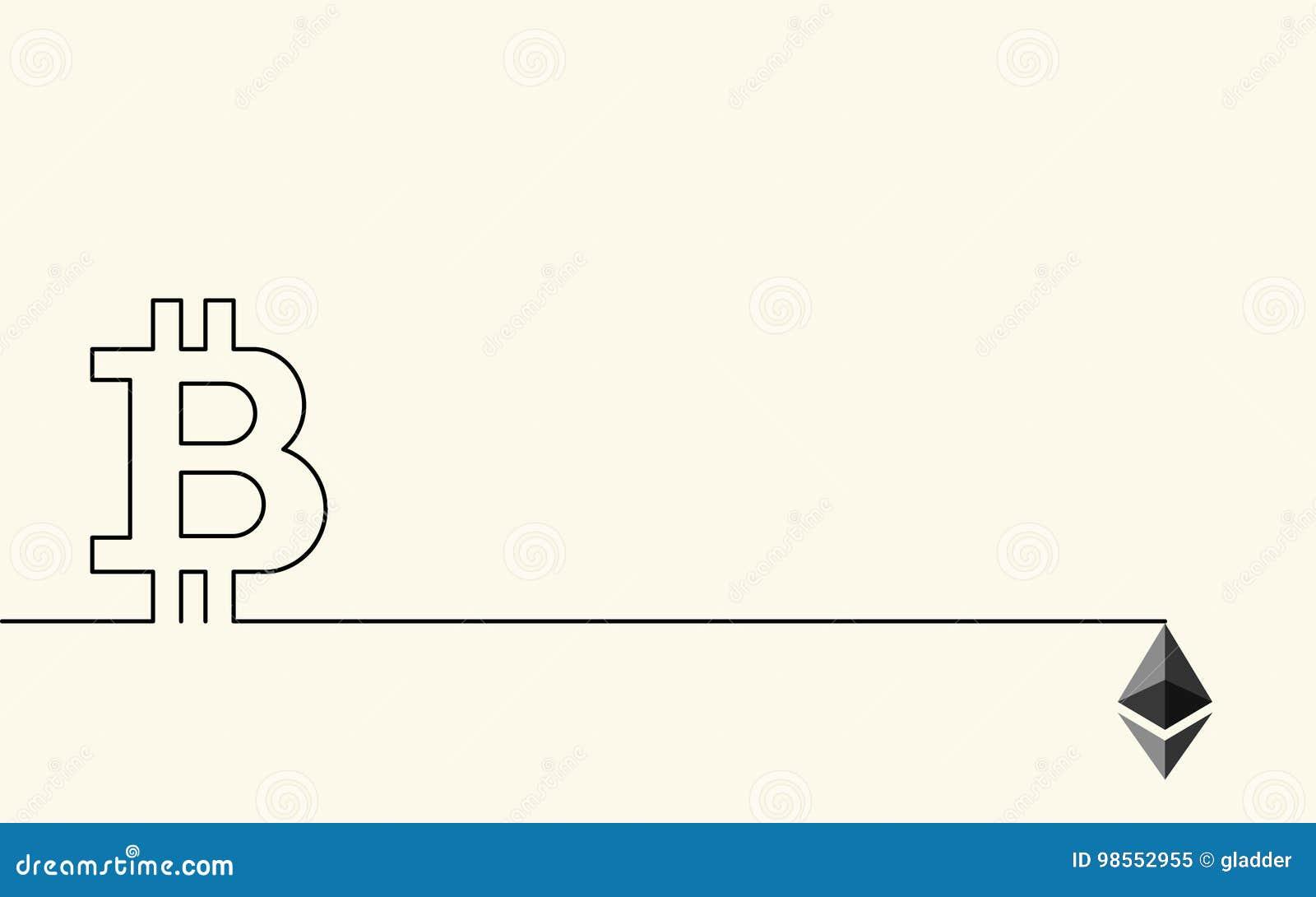 Symboles de crypto devise numérique Bitcoin et Ethereum, Etherium à un arrière-plan conceptuel créatif, ligne style plate pour le