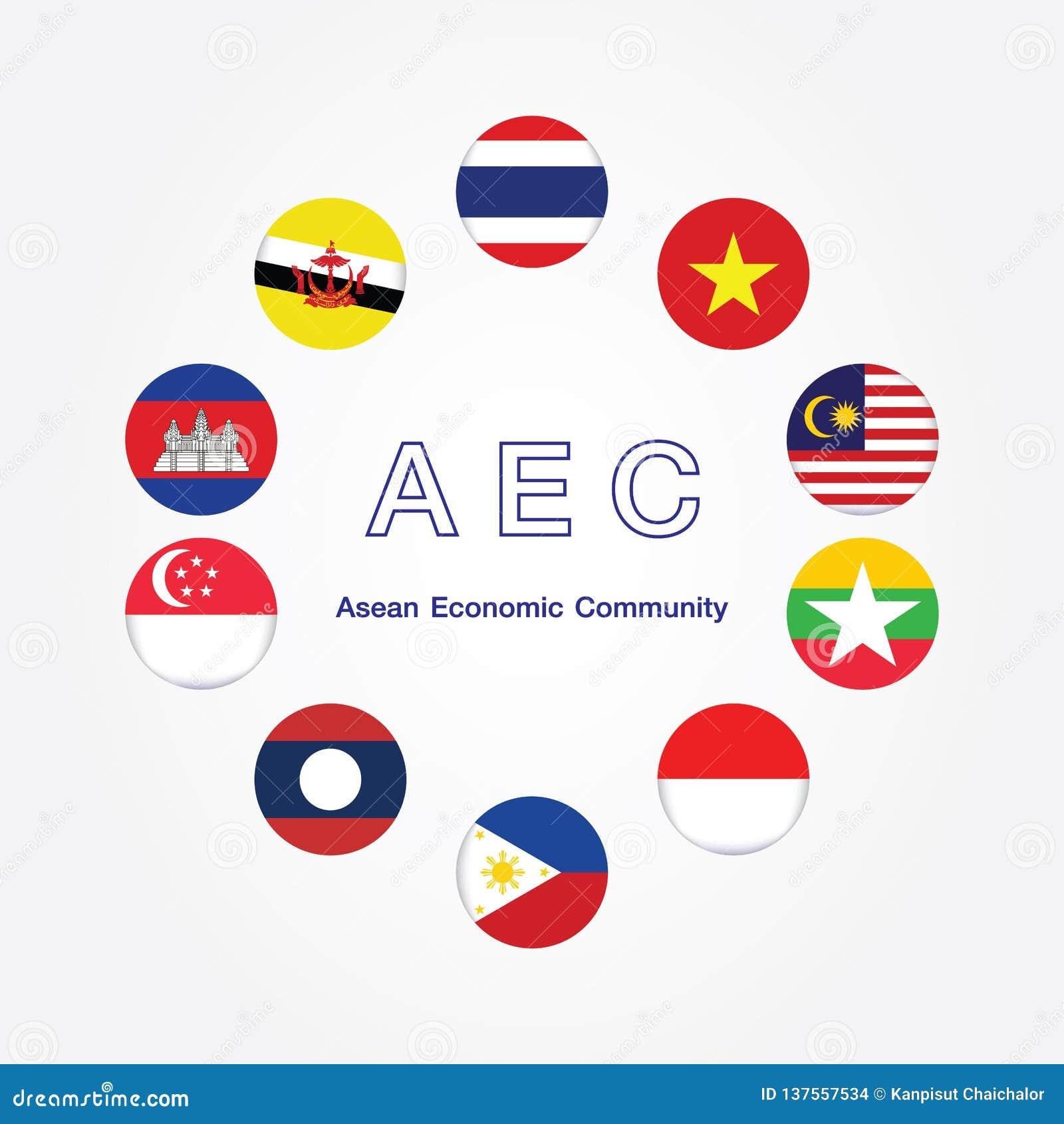 Symboles de drapeau de la communauté économique d ASEAN de l AEC Illustration de vecteur Icône de drapeau de l AEC Asie du Sud-Es