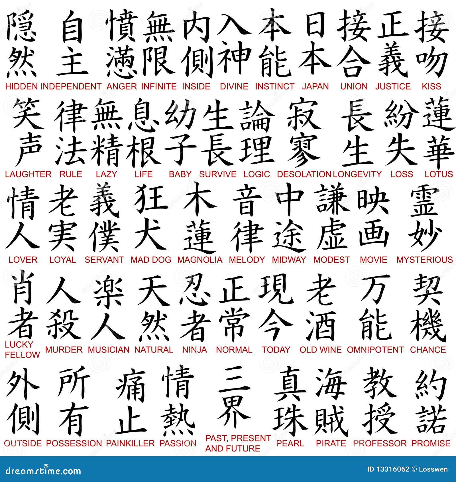 symboles de kanji photographie stock image 13316062. Black Bedroom Furniture Sets. Home Design Ideas