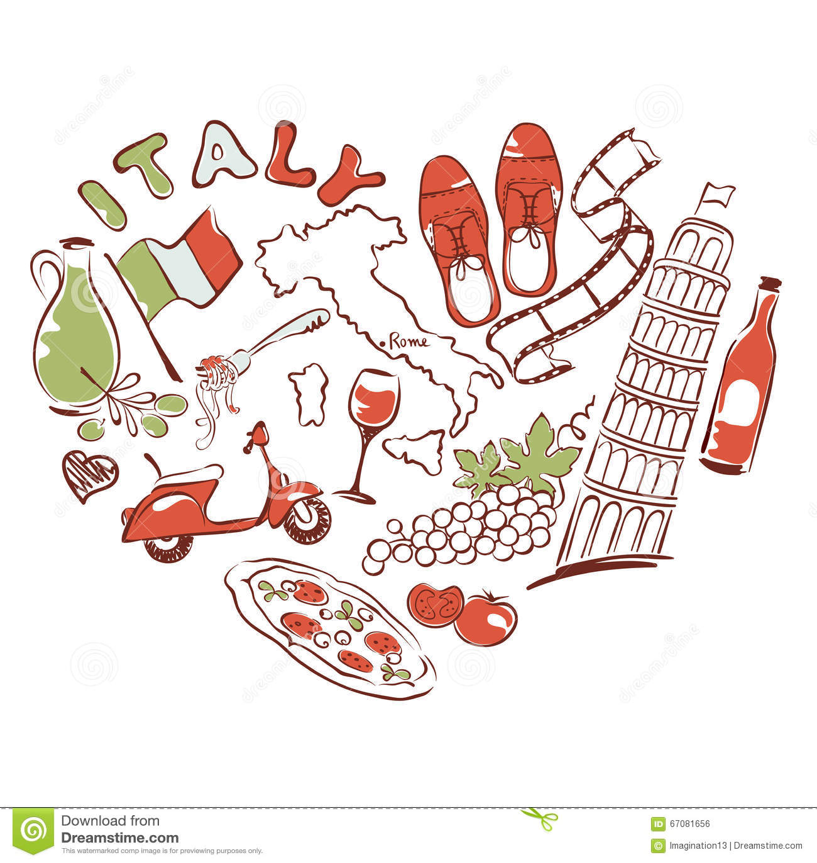 Très J'aime L'Italie Coeur De Symbole Des Attractions De L'Italie  RO23