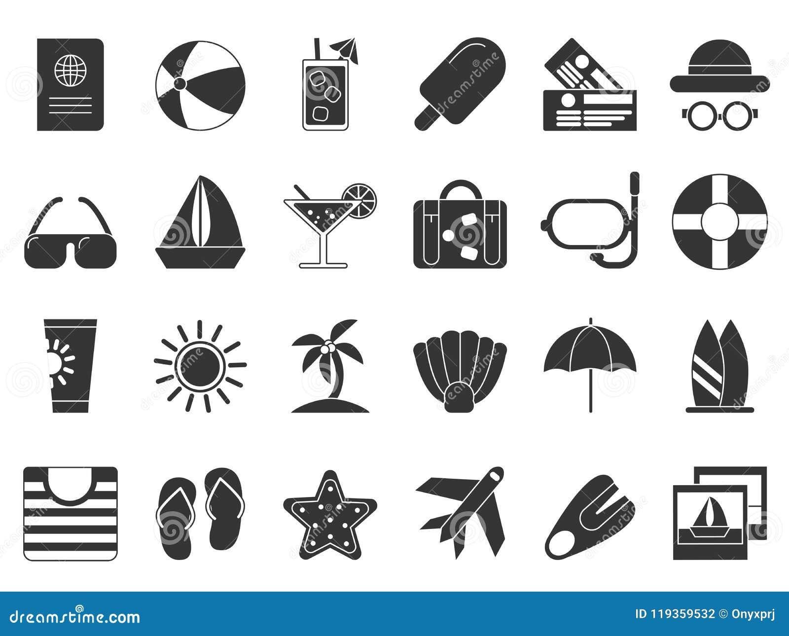 Symboles de noir d heure d été Isolat réglé d icône de vecteur