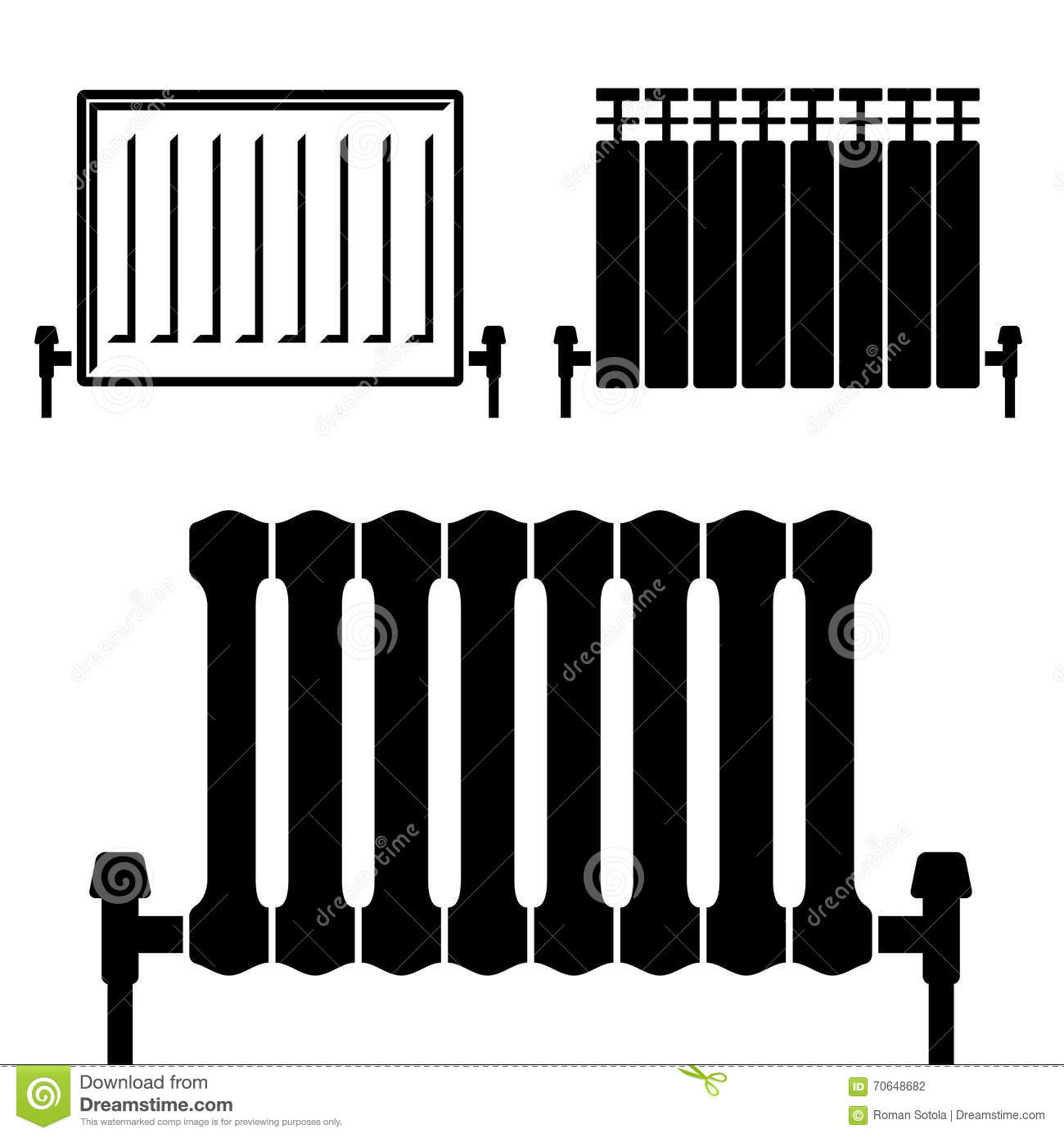 symboles de noir de radiateur de chauffage central illustration de vecteur illustration 70648682. Black Bedroom Furniture Sets. Home Design Ideas