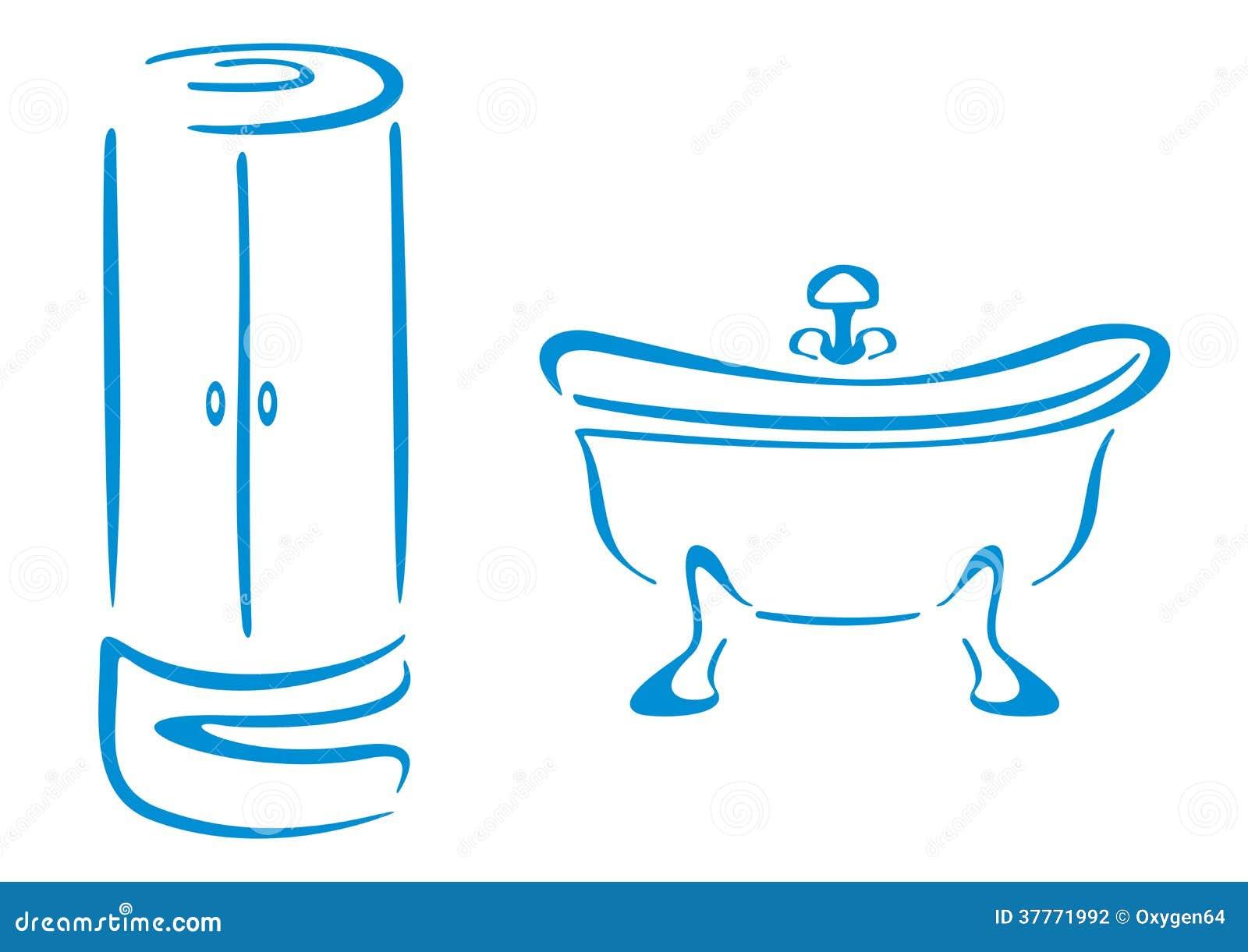 Symboles de salle de bains illustration de vecteur for Logo salle de bain