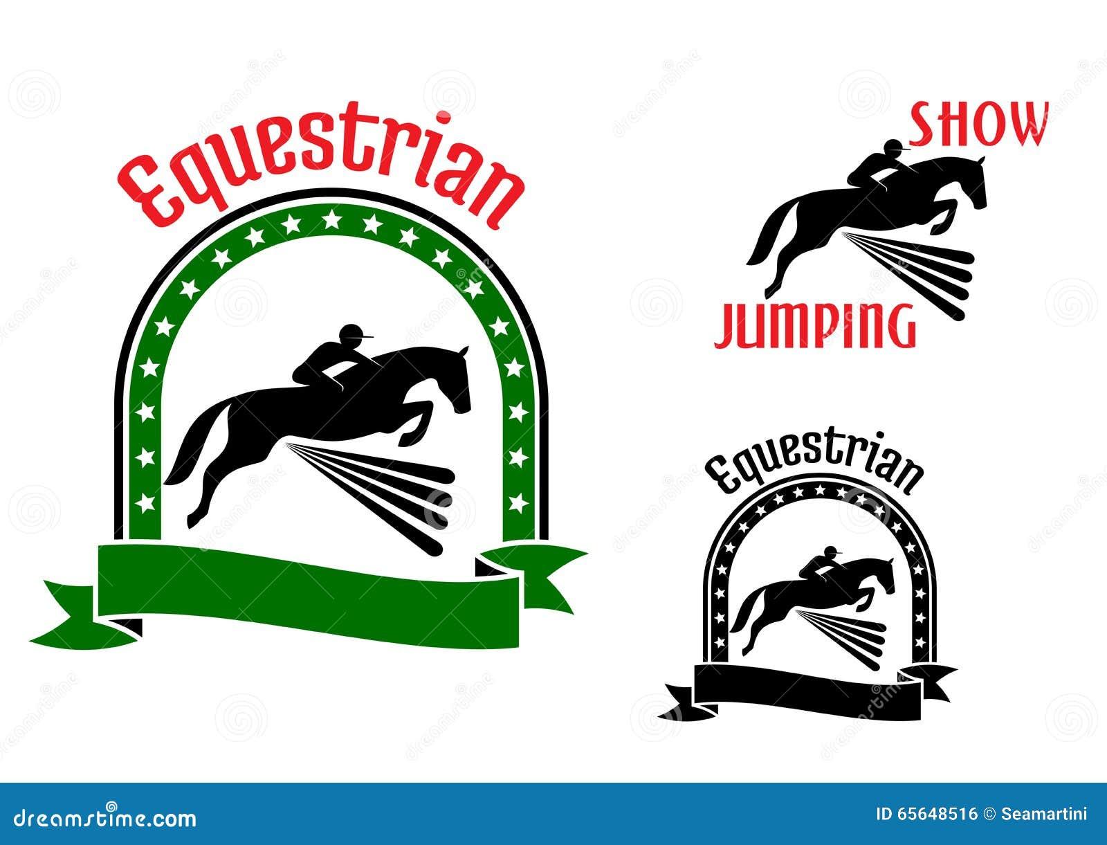 Symboles de sport équestre avec les chevaux sautants