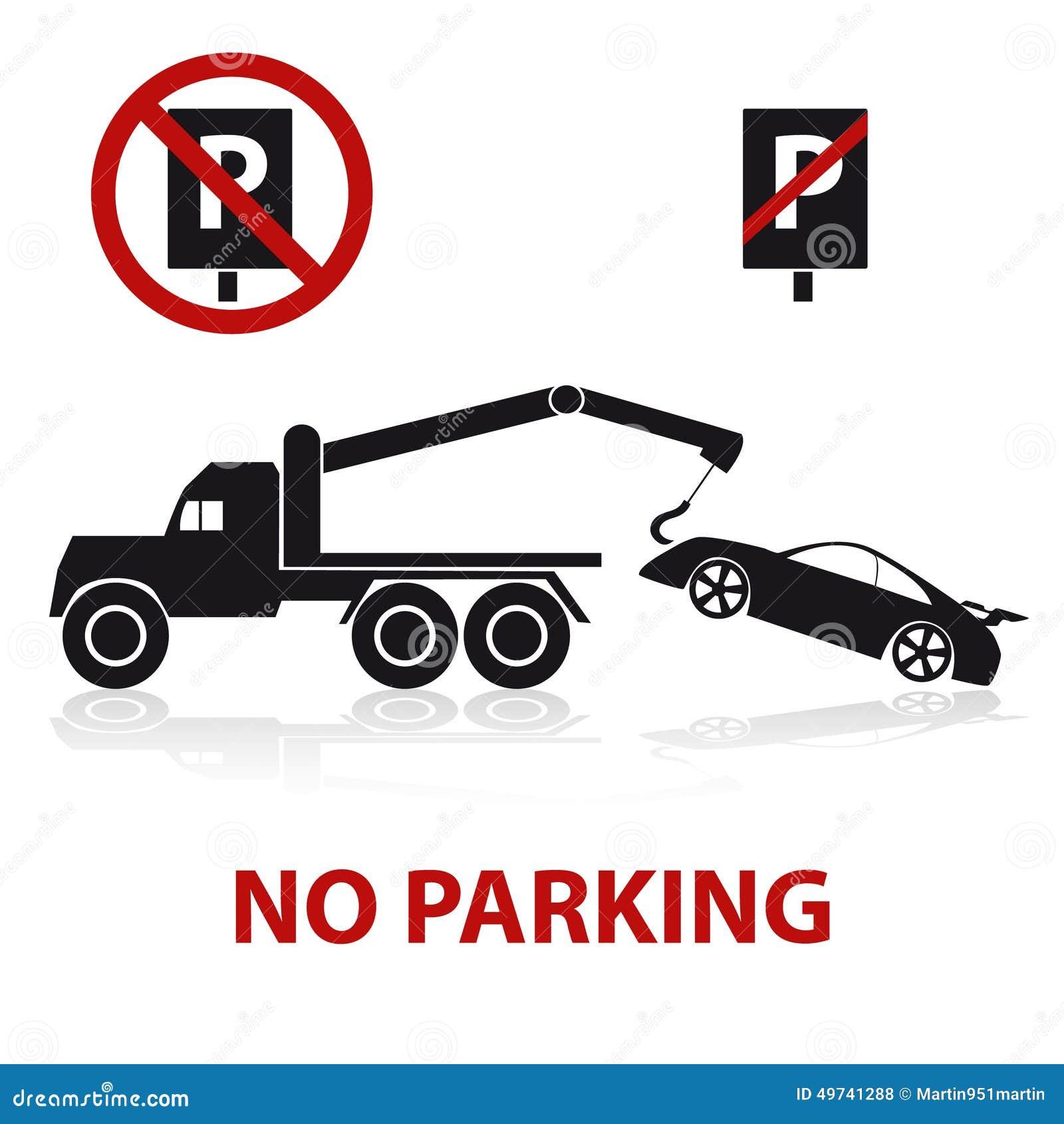 symboles de stationnement interdit avec la voiture et les signes illustration de vecteur. Black Bedroom Furniture Sets. Home Design Ideas