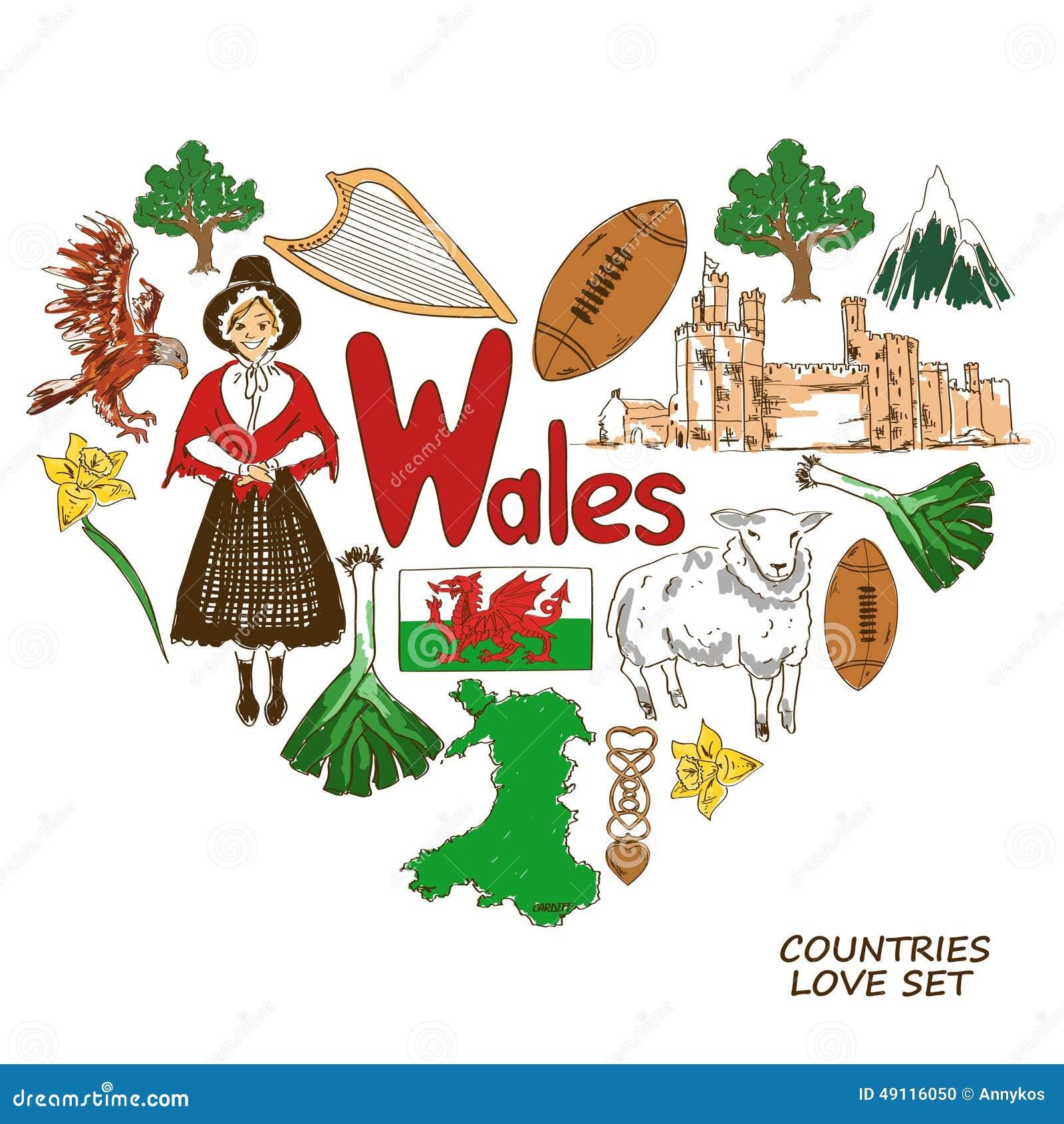 Symboles du pays de galles dans le concept de forme de coeur illustration de vecteur - Logo pays de galles ...