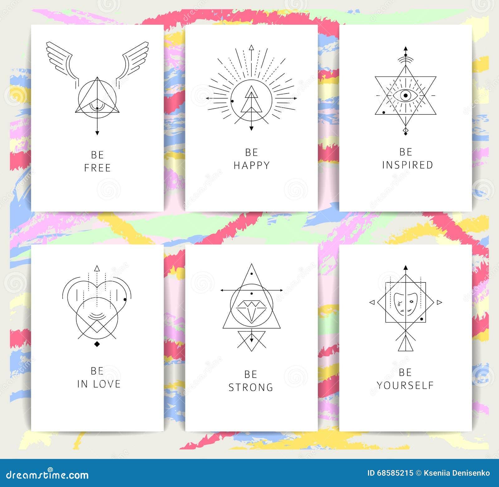 Symboles géométriques d alchimie de vecteur avec des expressions inspirées