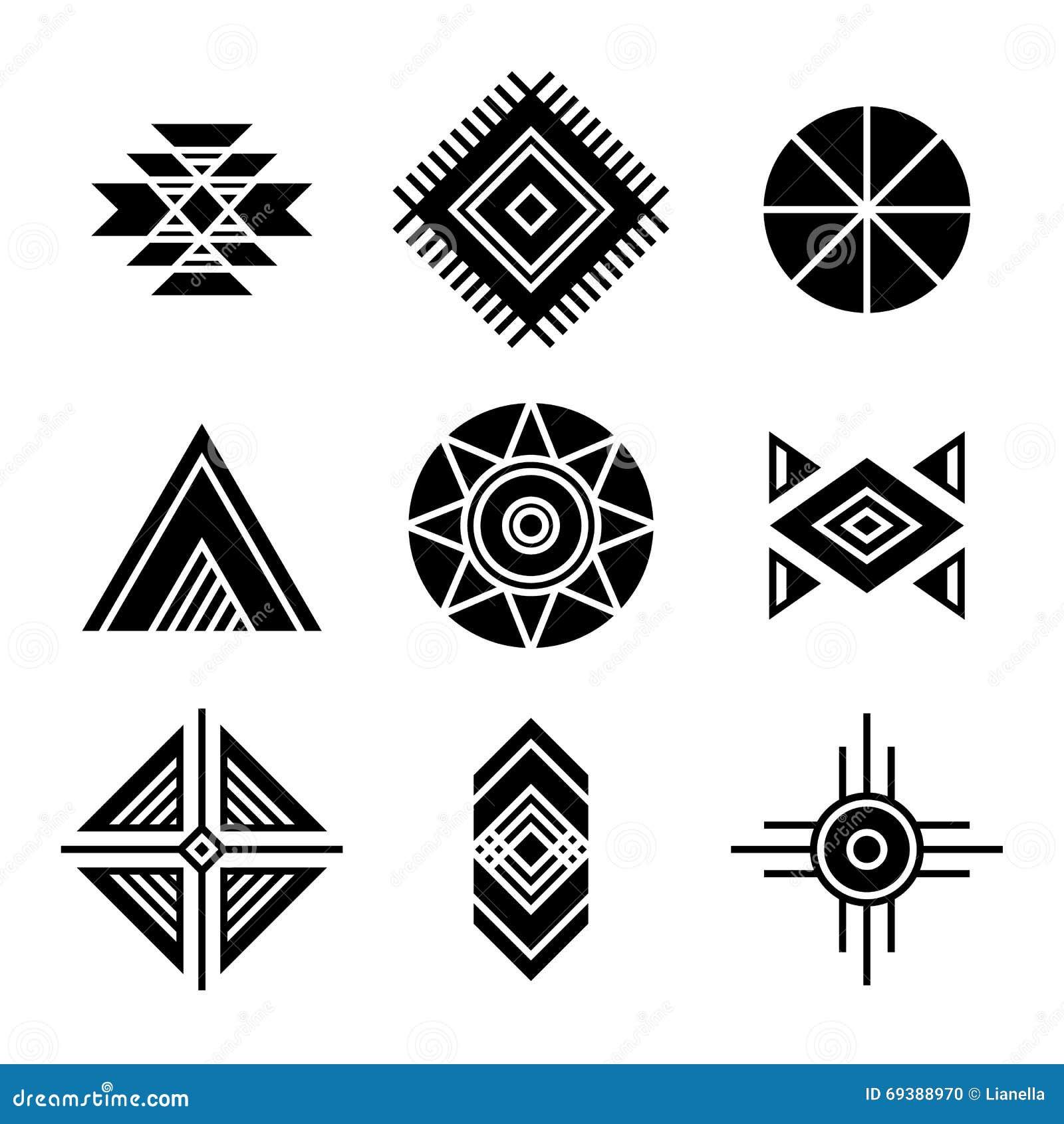 Extrêmement Symboles Indigènes De Tribal D'Indiens D'Amerique Illustration de  WG47