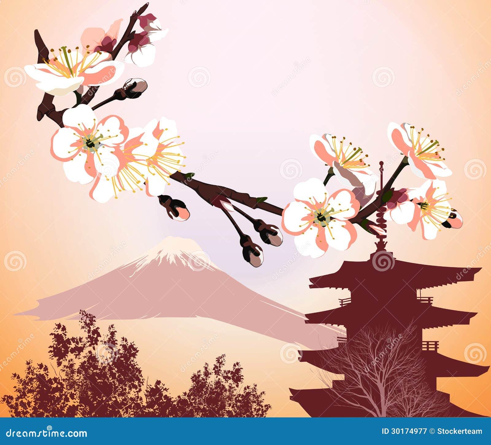 symboles japonais avec la fleur et la montagne photographie stock libre de droits image 30174977. Black Bedroom Furniture Sets. Home Design Ideas
