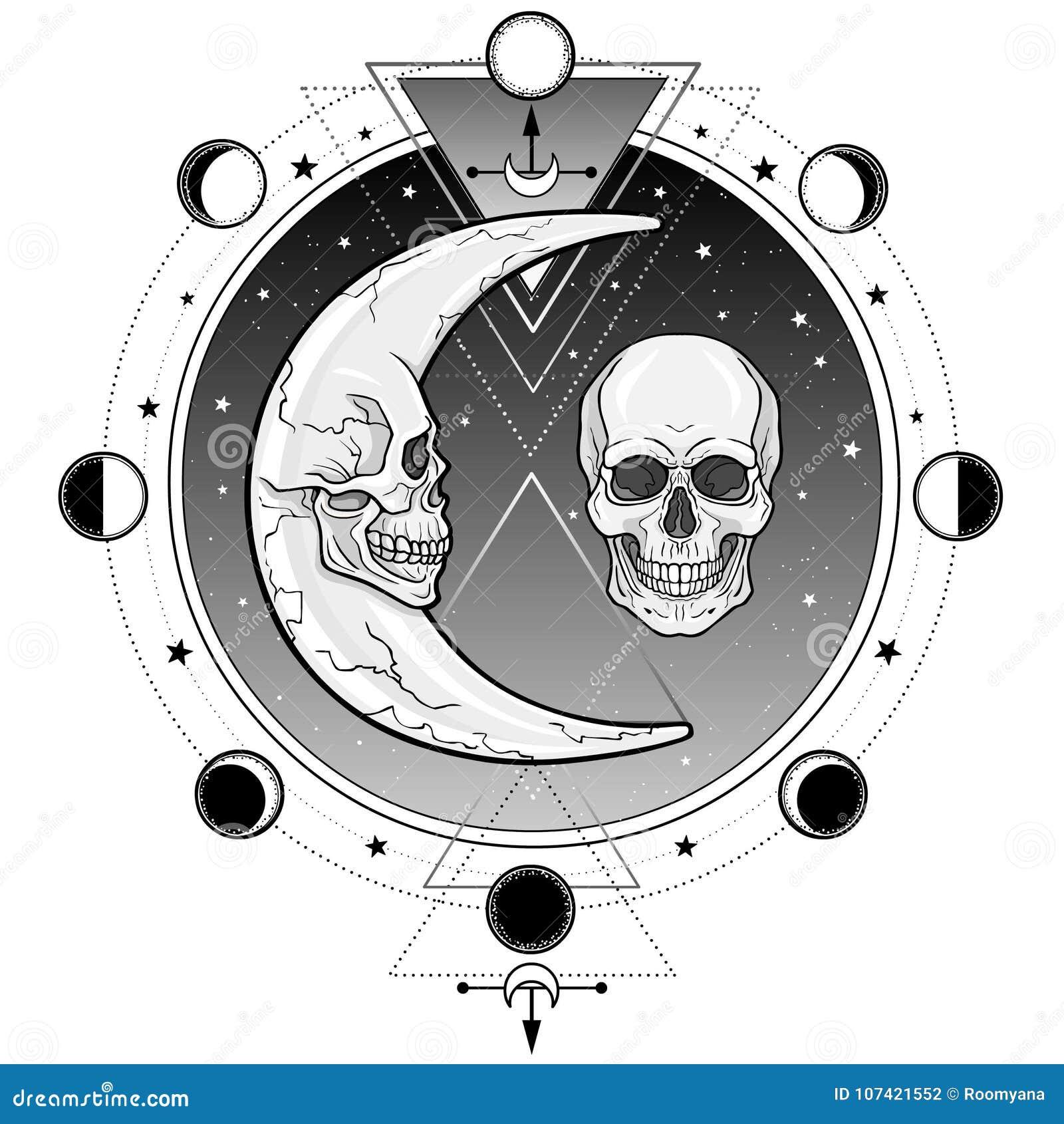 Symboles mystiques : la lune et le mois sous forme de crânes humains La géométrie sacrée