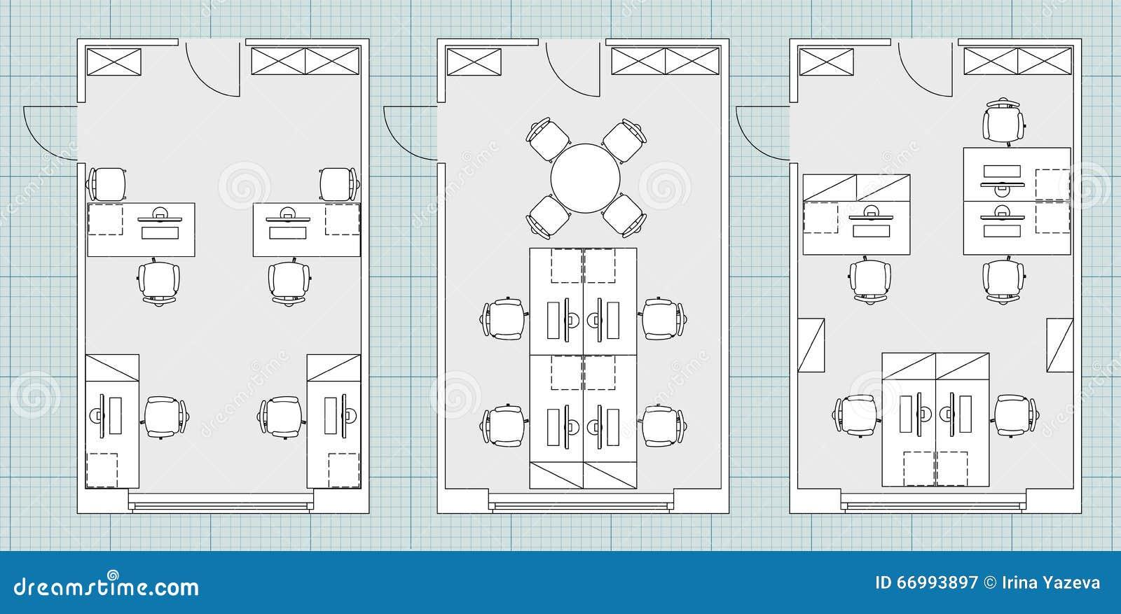 Symboles standard de meubles de bureau sur des plans d étage