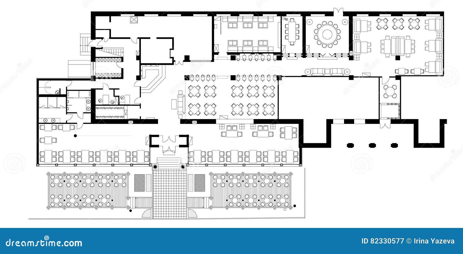 Symboles standard de meubles de café sur des plans d étage illustration de vecteur