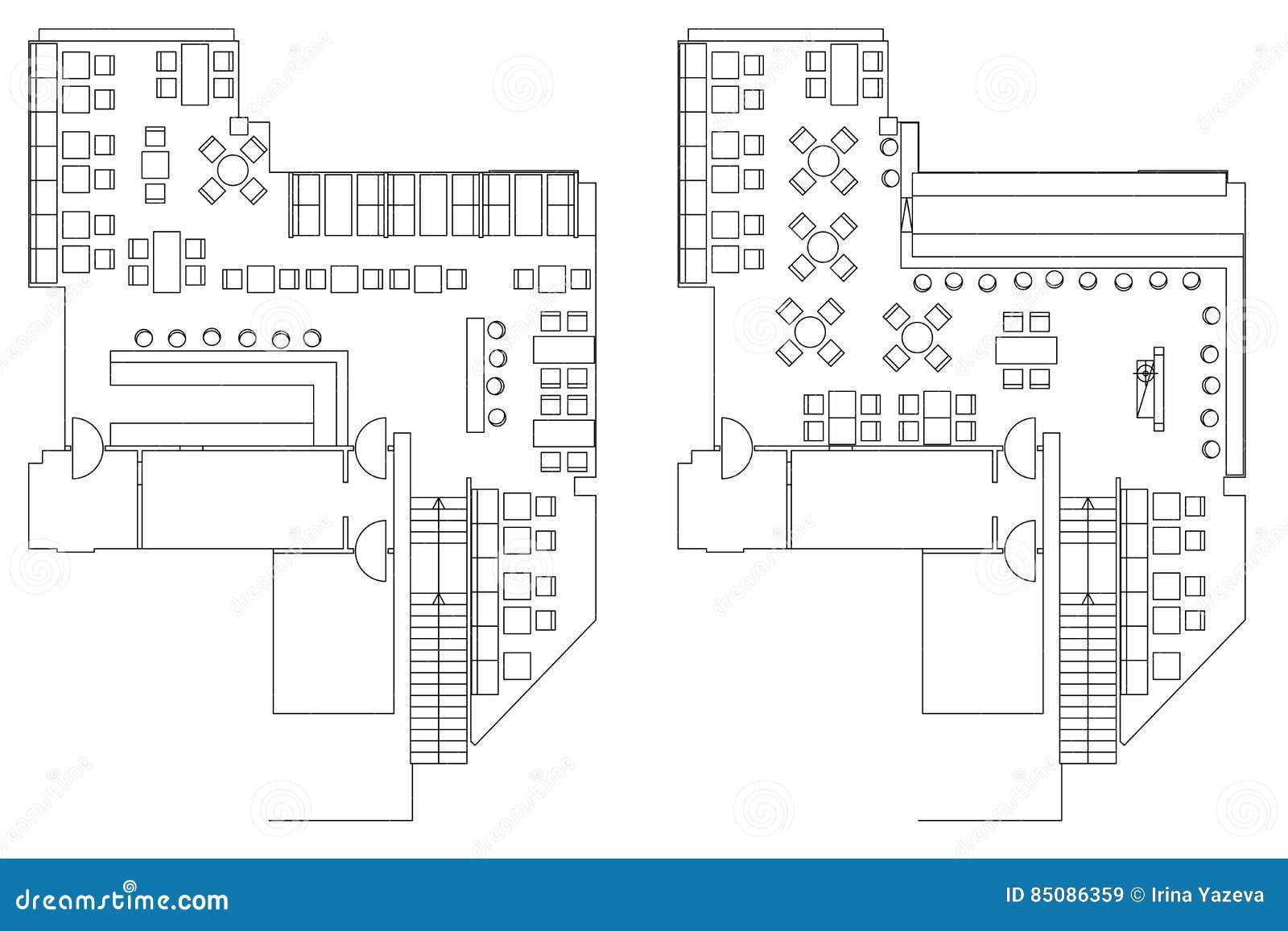 Symboles standard de meubles de café sur des plans d étage illustration stock