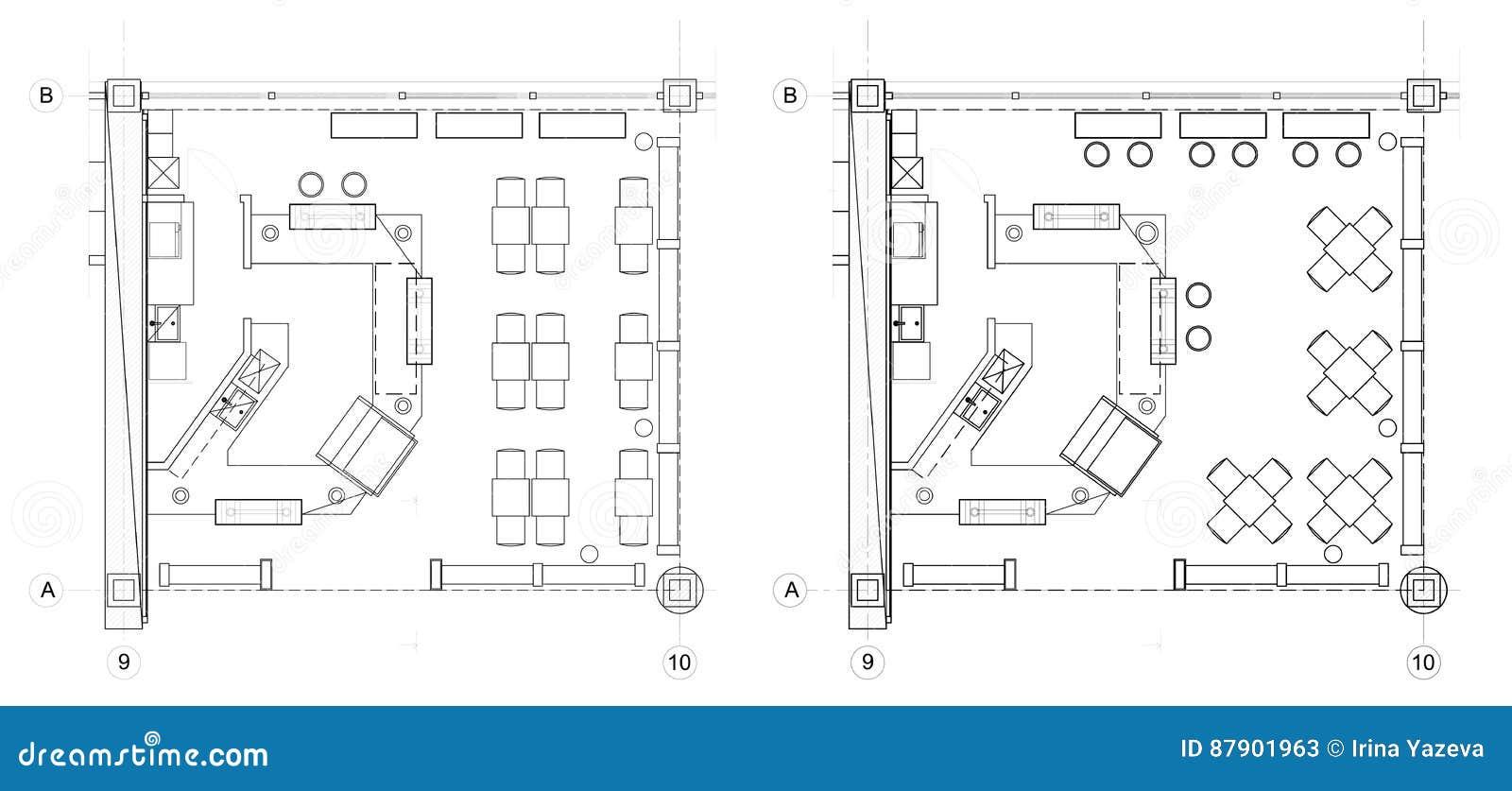 Symboles standard de meubles de café sur des plans d étage