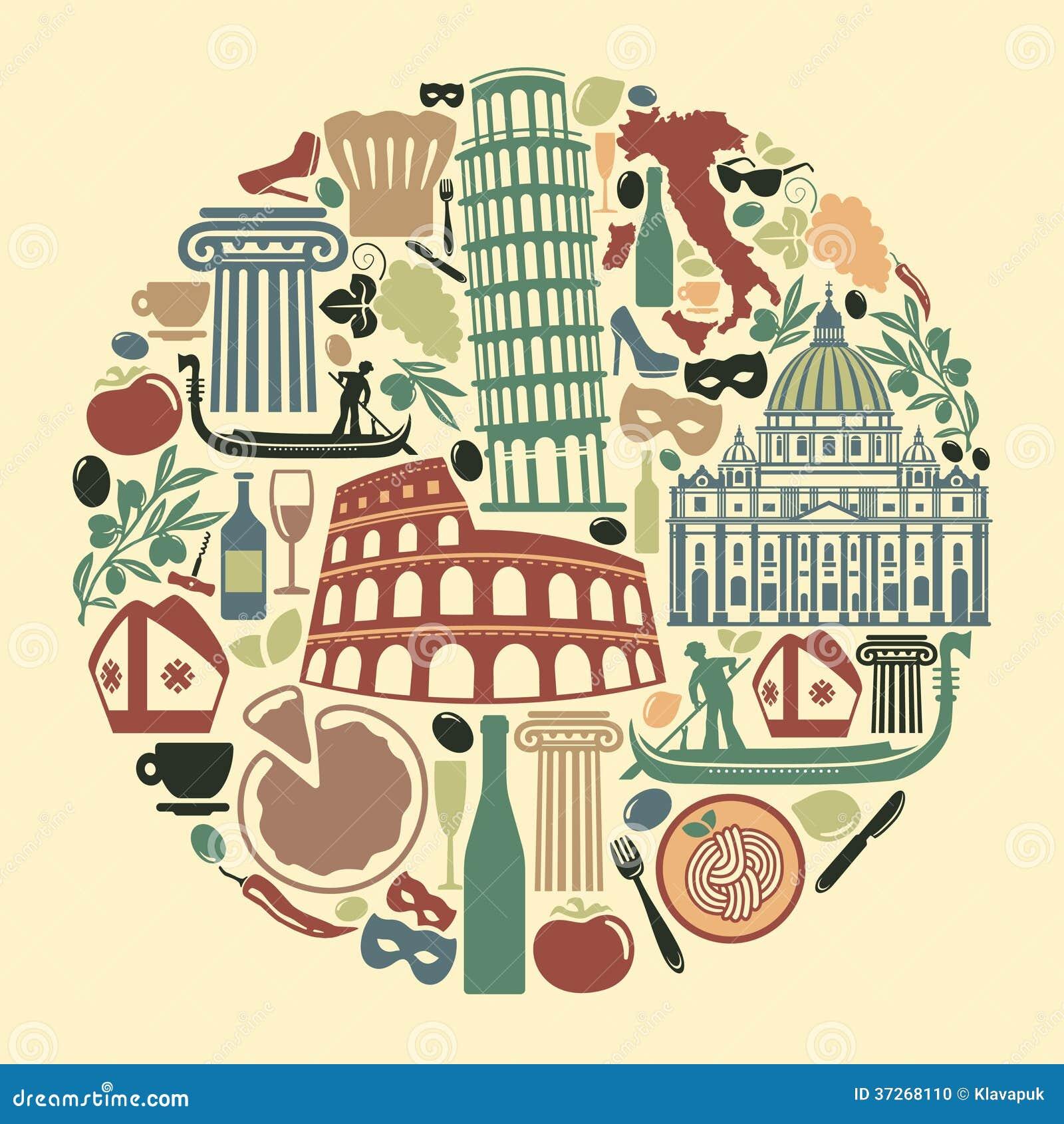 Très Coeur D'icônes De L'Italie Illustration de Vecteur - Image: 41601673 RO23