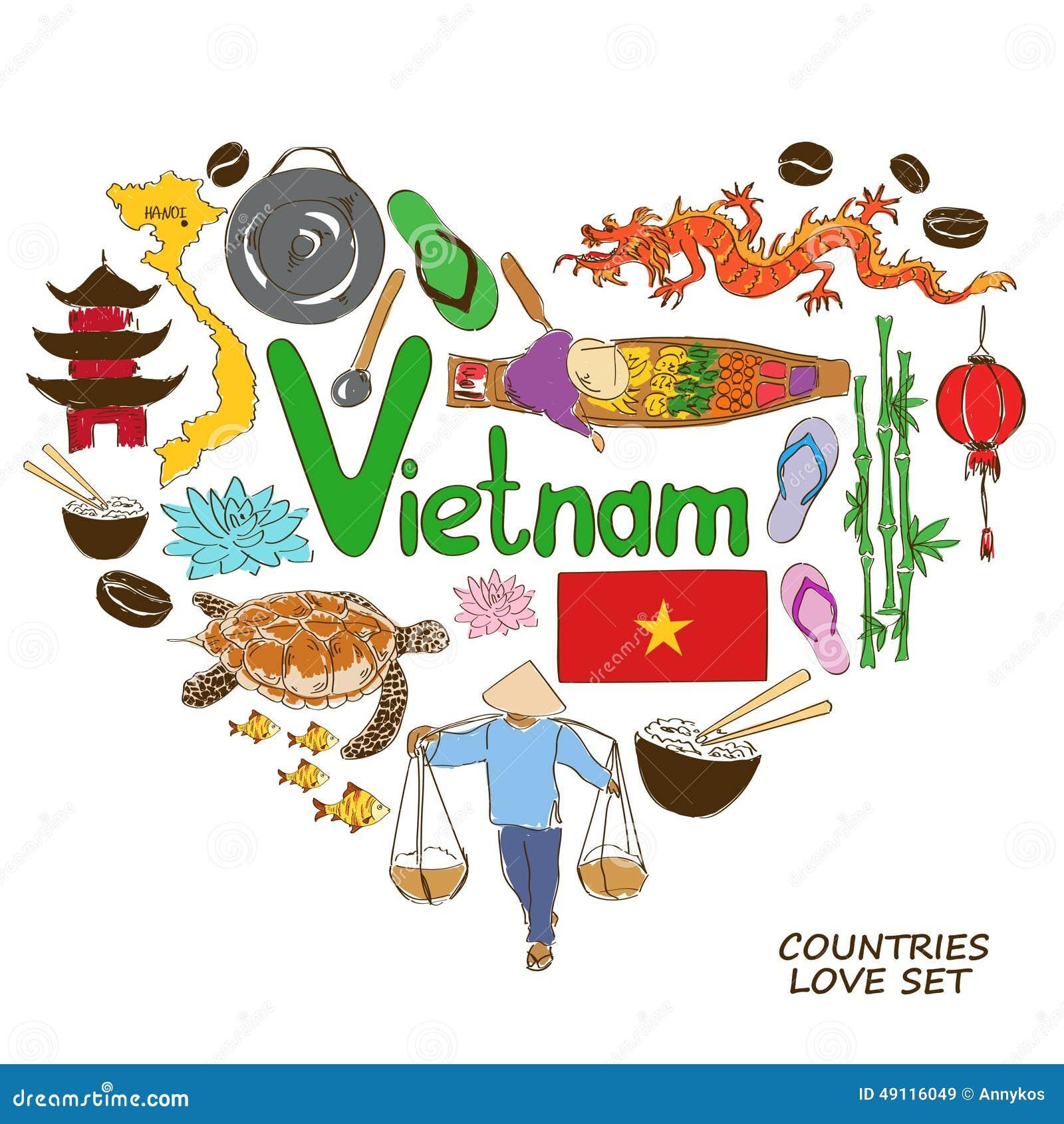 Populaire Symboles Vietnamiens Dans Le Concept De Forme De Coeur  BA42