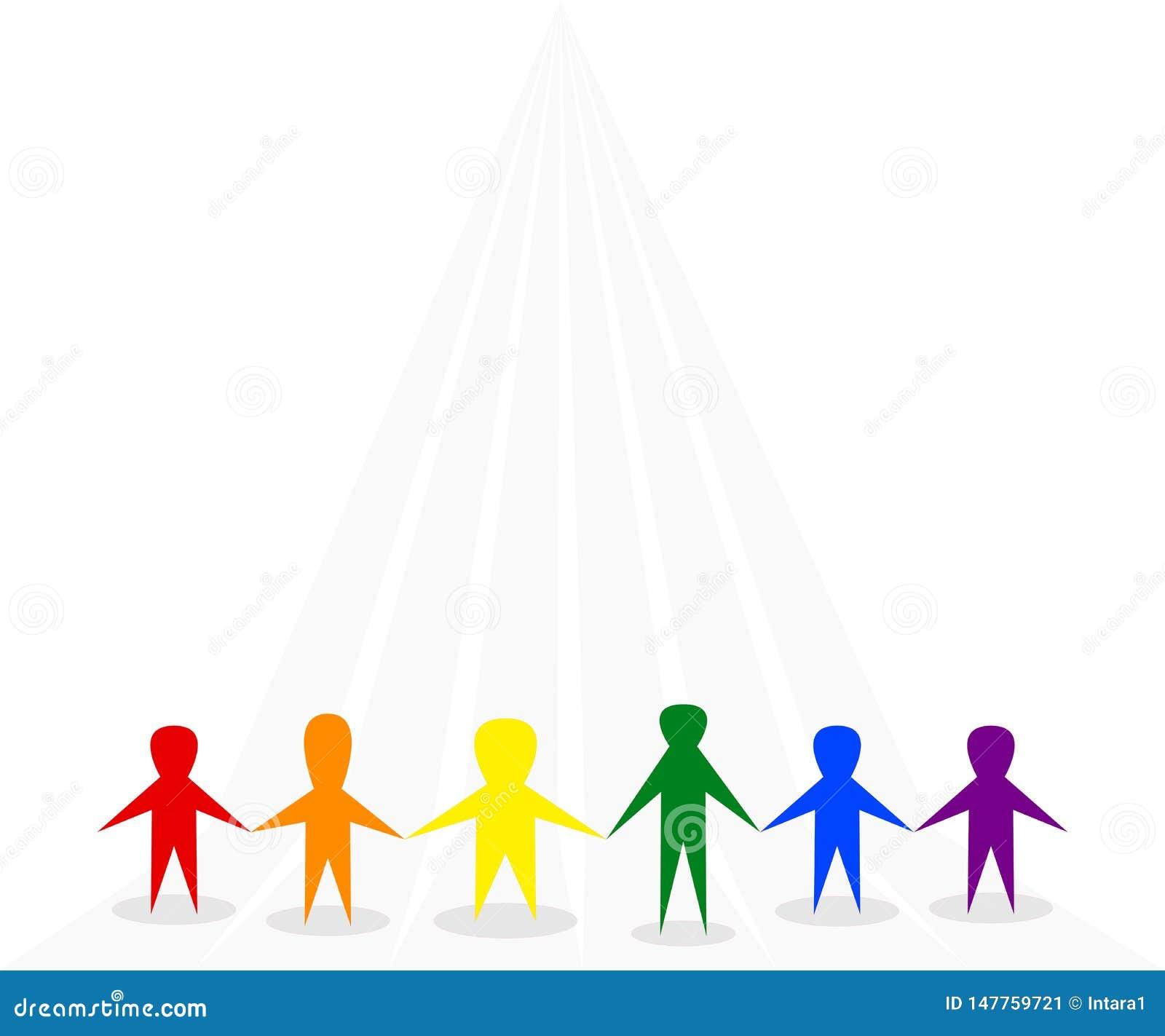 Symbolet av folk som tillsammans står på grå bakgrund, symbolisk regnbåge för bruk LGBTQ, färgar rött, orange, gult, grönt, blått