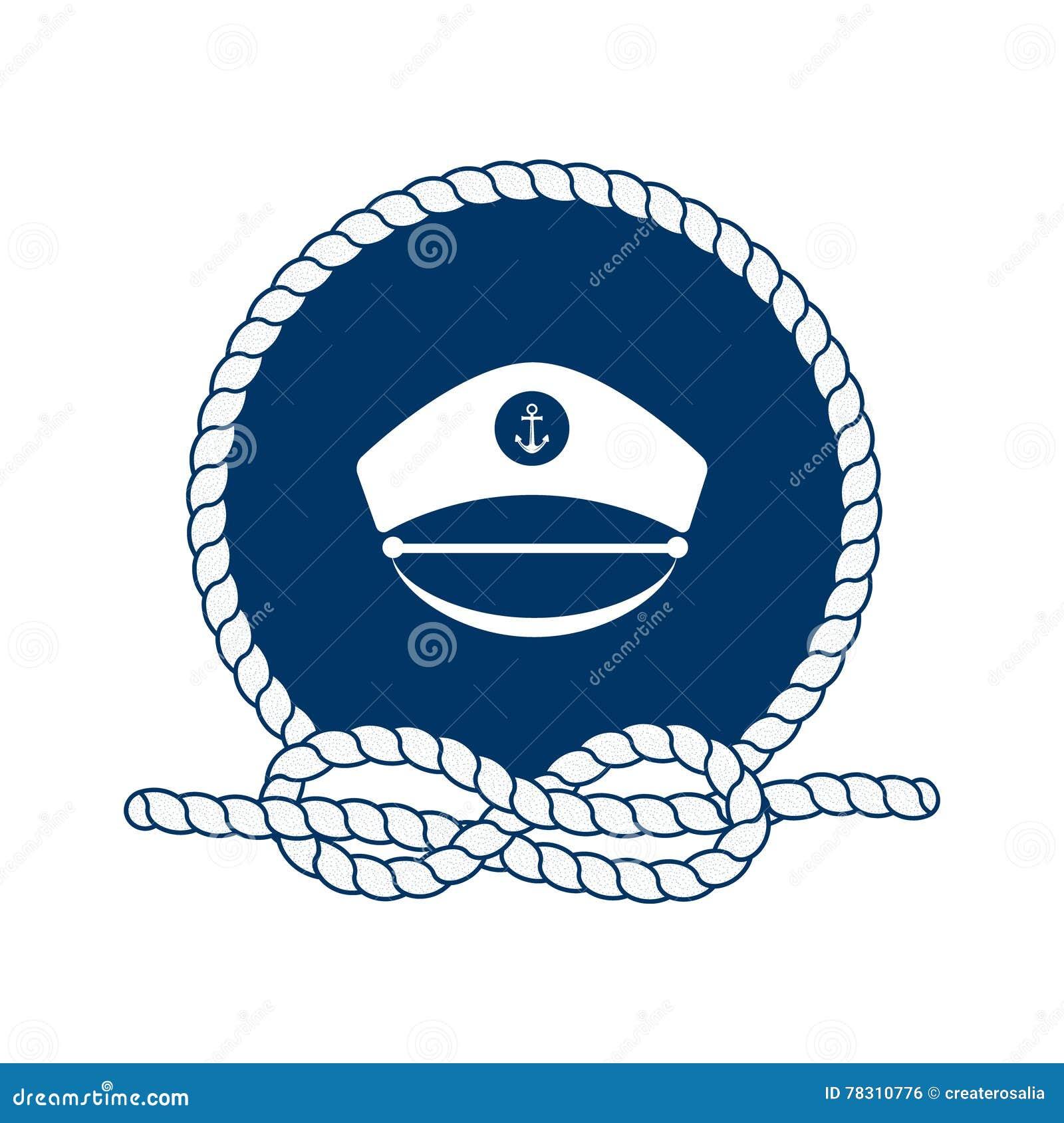 Symbolet av sjömän, seglar, kryssning och havet vektor
