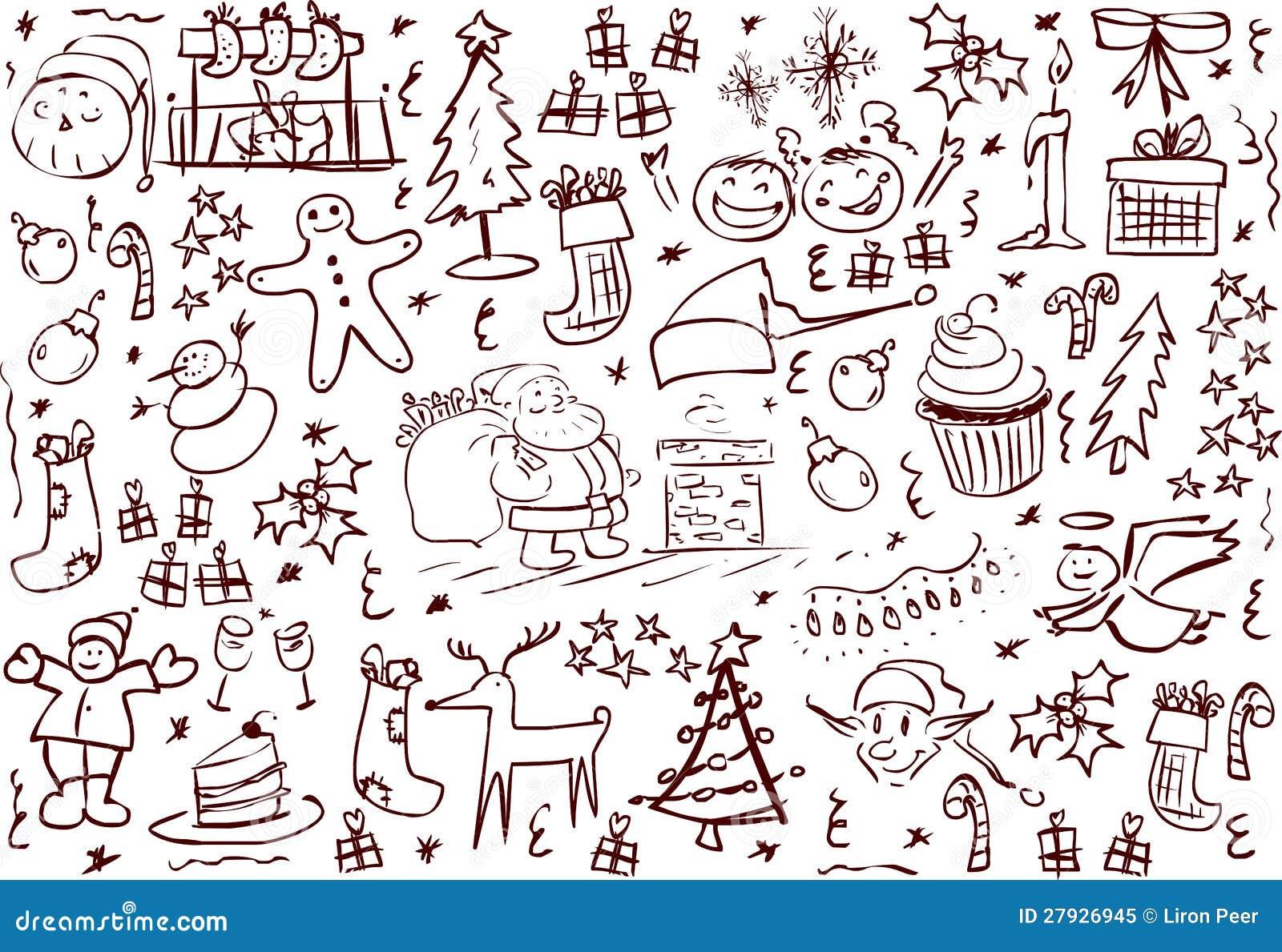 Symboli/lów bożenarodzeniowi Doodles