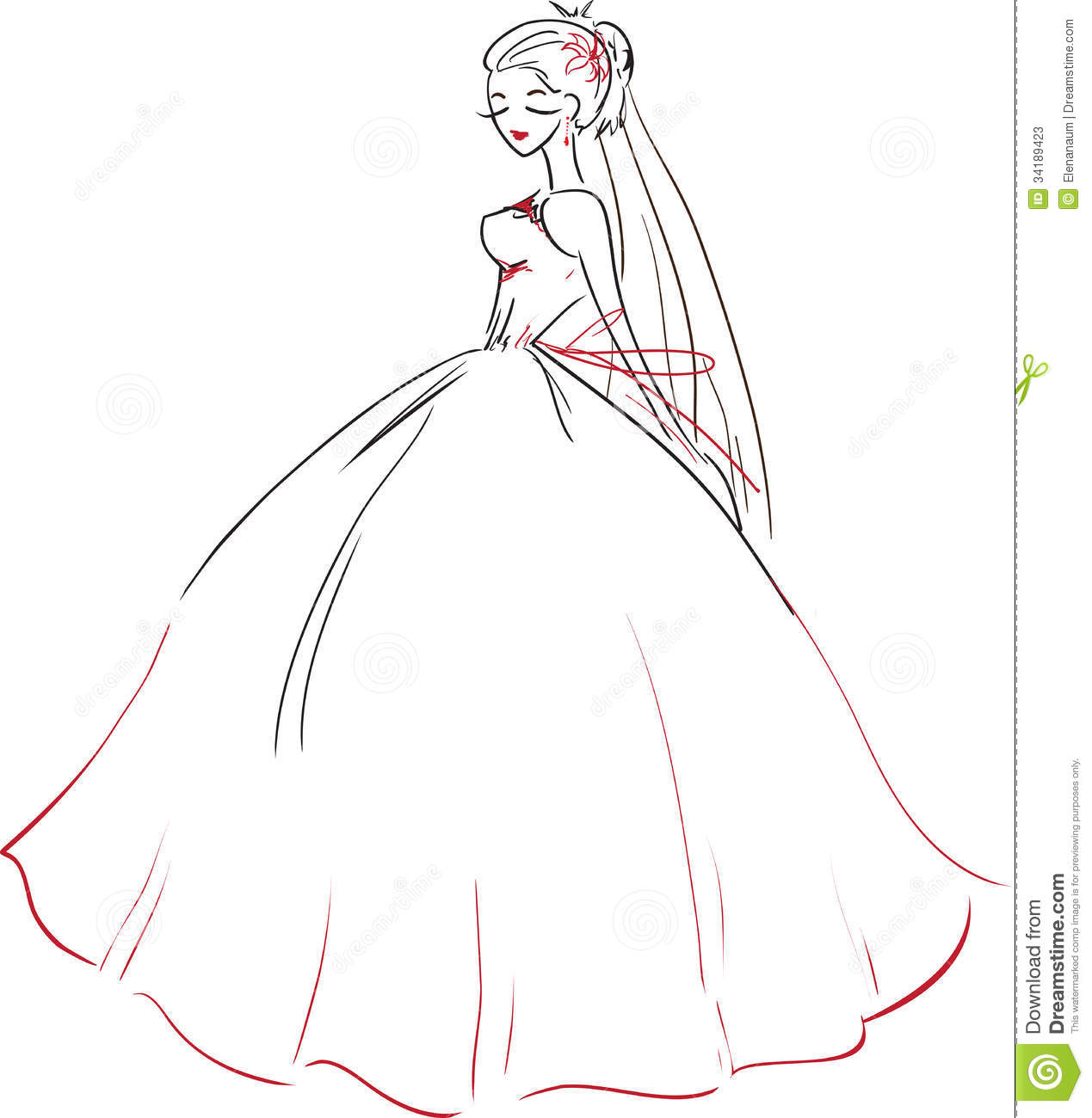 Symbolic bride in a magnificent red wedding dress theme wedding