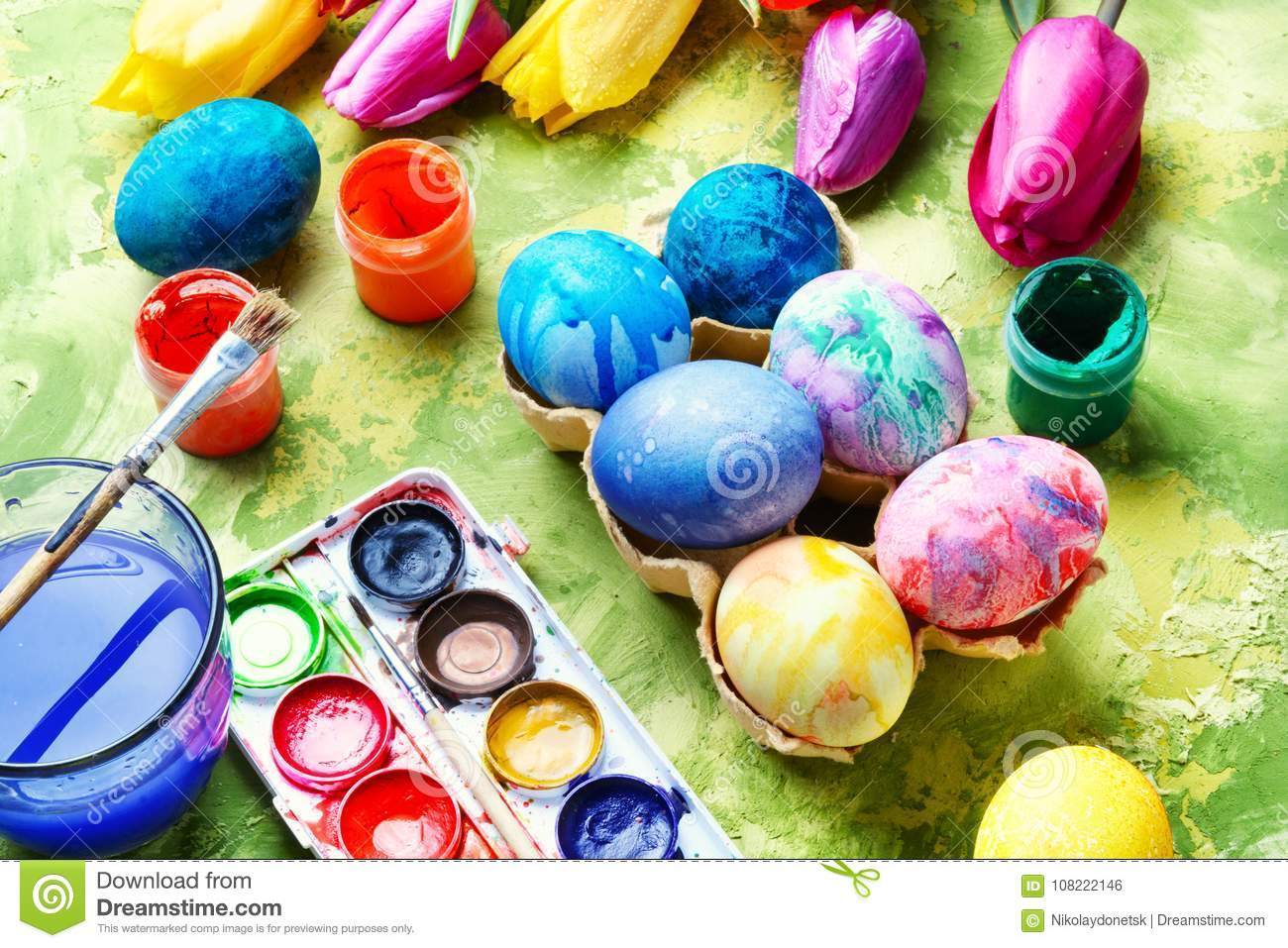 Easter Eggs Paint And Tulips Stock Photo Image Of Decorated