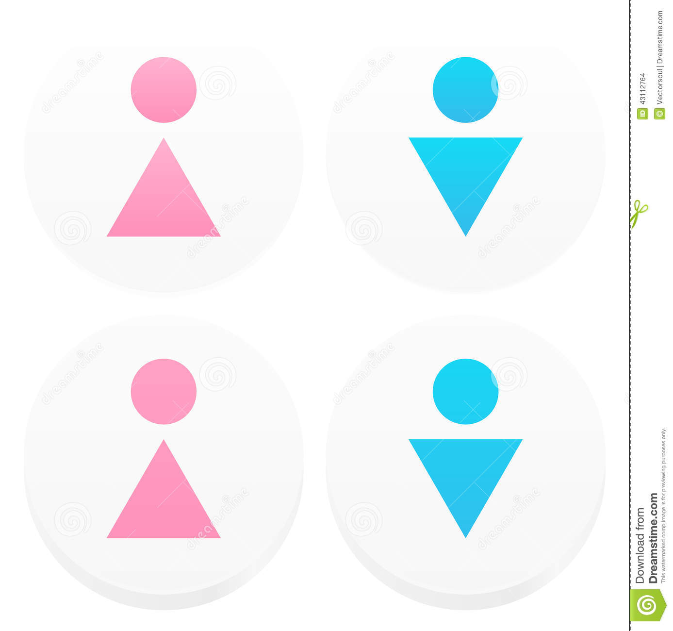 Symbolic male, female restroom signs