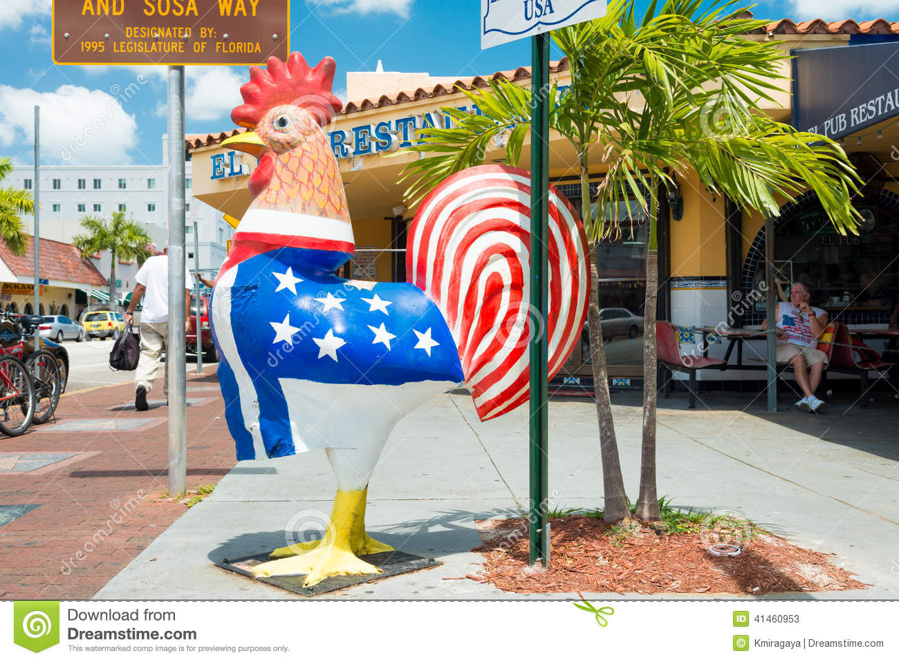 Symbolic rooster sculpture in Little Havana, Miami Editorial Stock ...