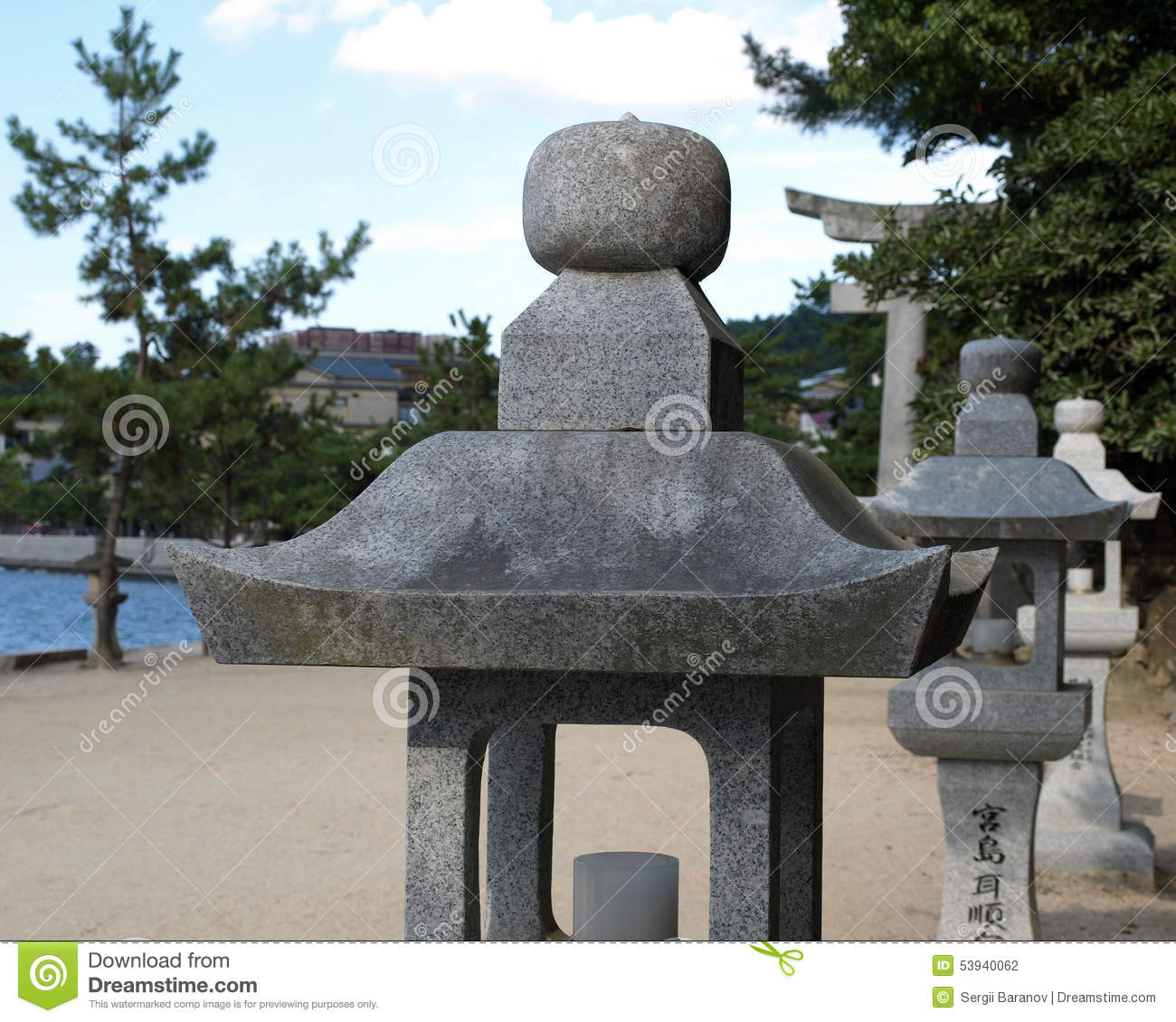 Symbolic Stone Lamp At Buddhist Temple Stock Photo - Image of ... for Temple Stone Lamp  199fiz