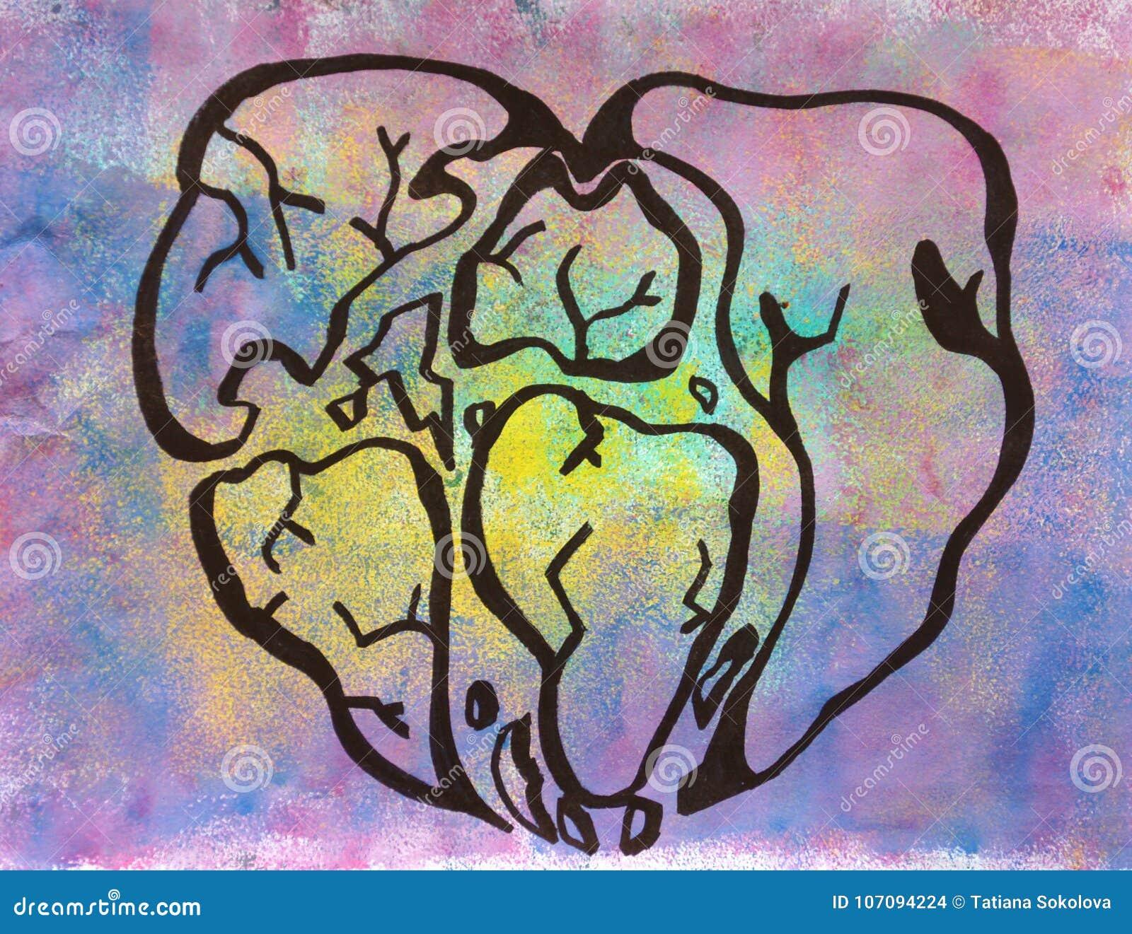 Symbolisch hart van de wereld