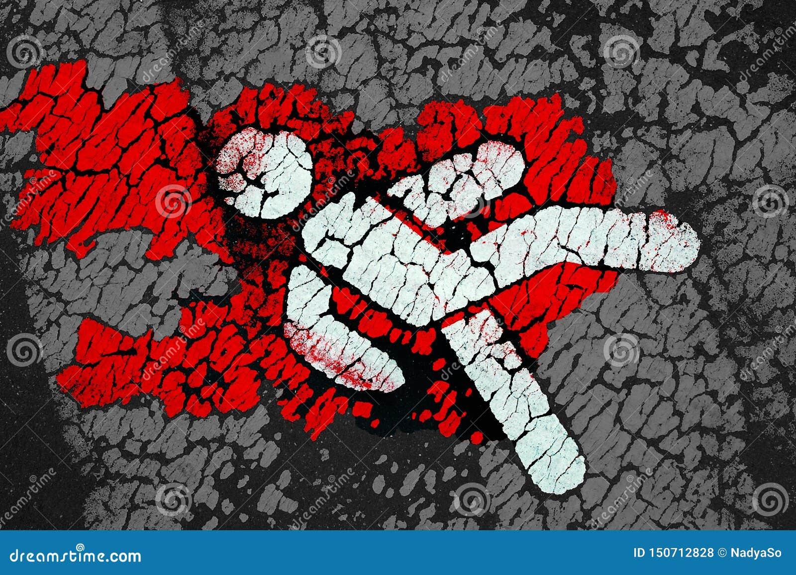 Symbolisch voetpictogram met rood bloed zoals vlekken