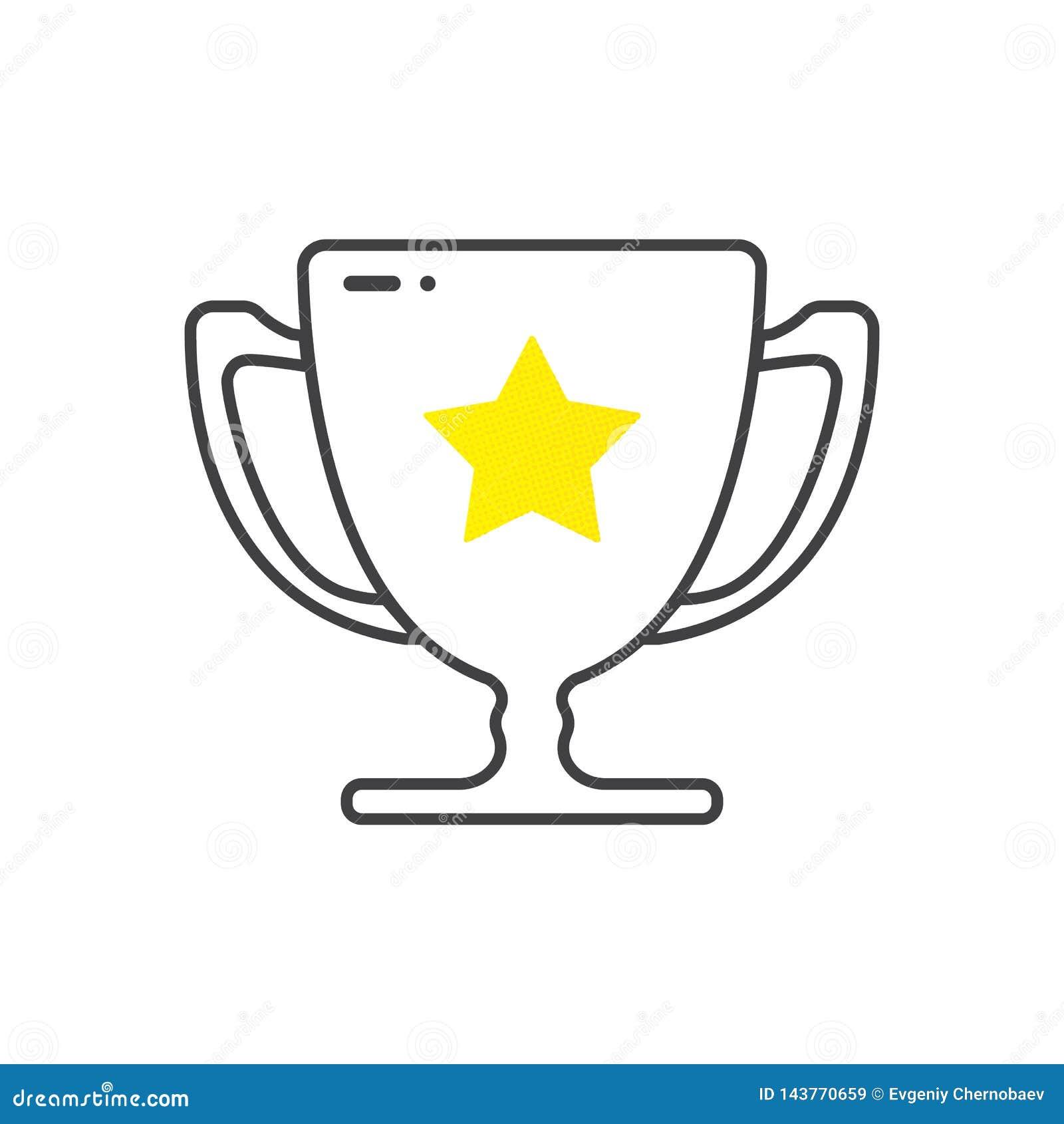 Symboliserar vinnare koppen, trofé seger Guld- kopp f?r vinnare F?rsta st?llekopp Tropy bel?ning Illustration f?r tecknad filmsti