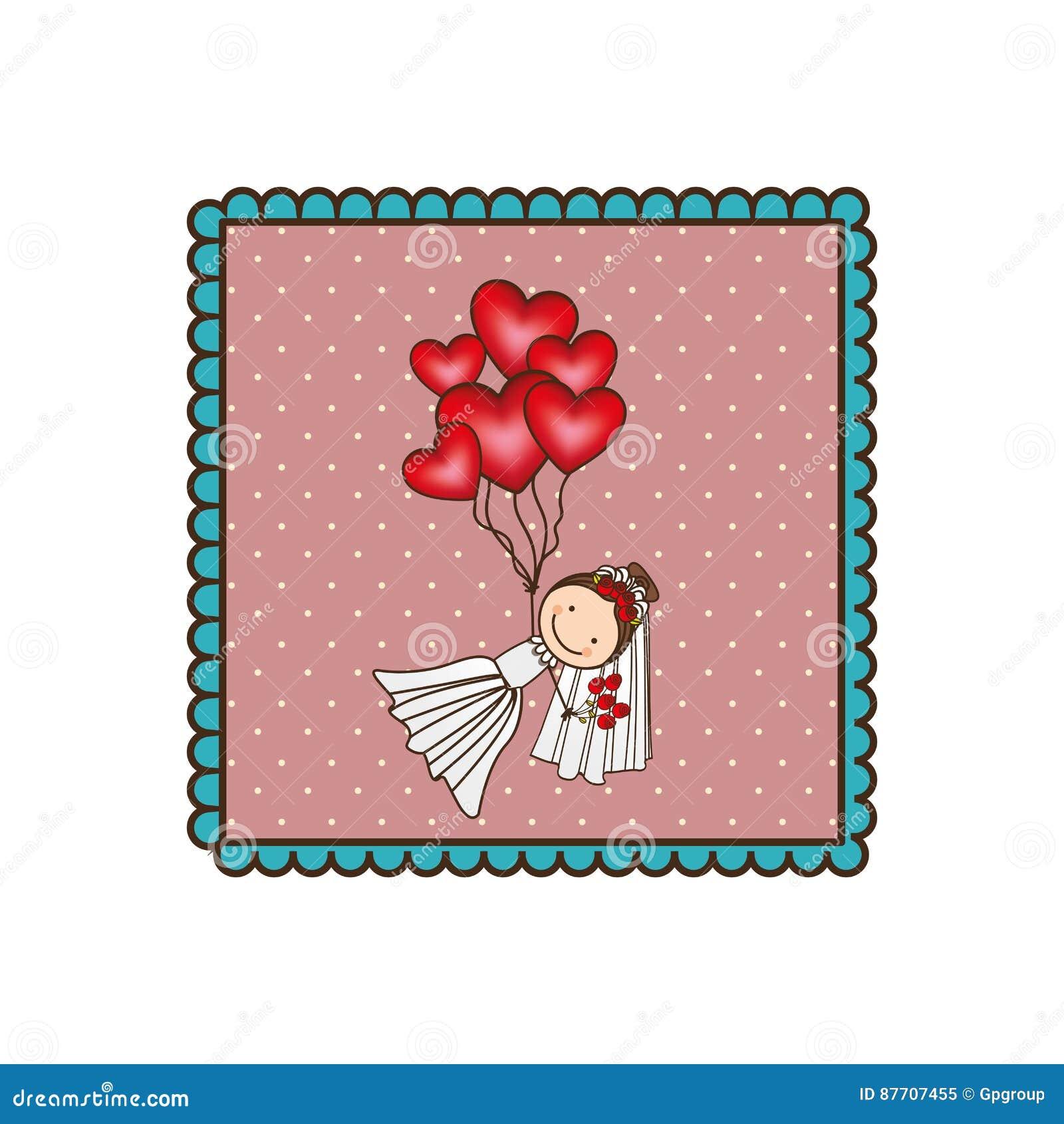 Symbolisez la femme avec la robe de mariage et les ballons rouges