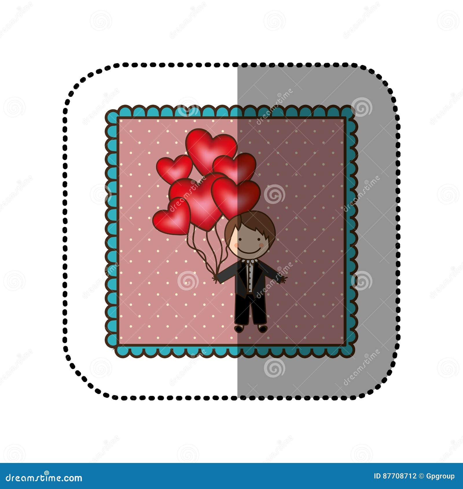 Symbolisez le jeune marié avec les ballons rouges de coeur dans sa main