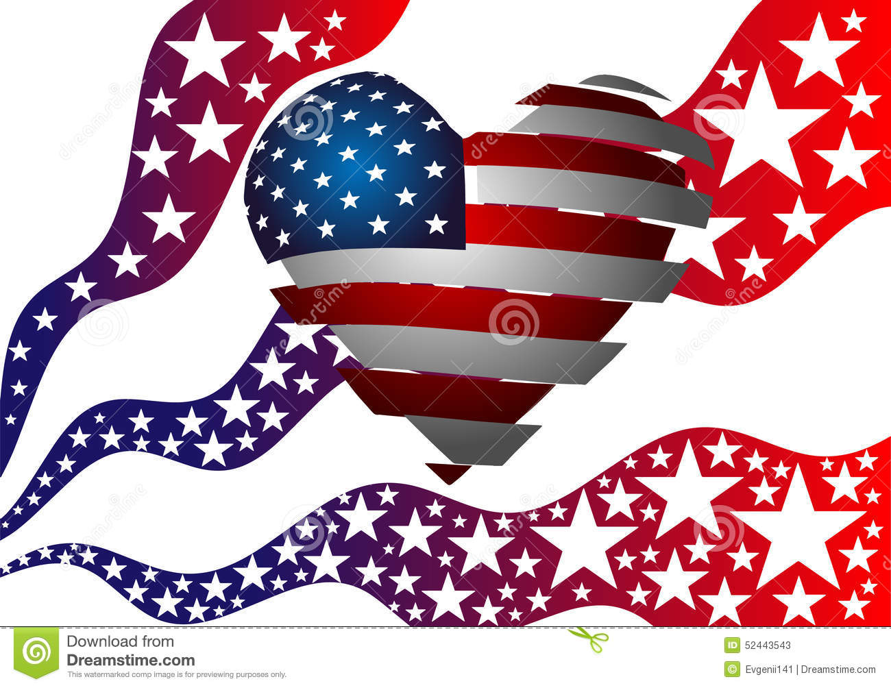 The Symbolism Of The American Flag Heart Stars And Stripes Stock