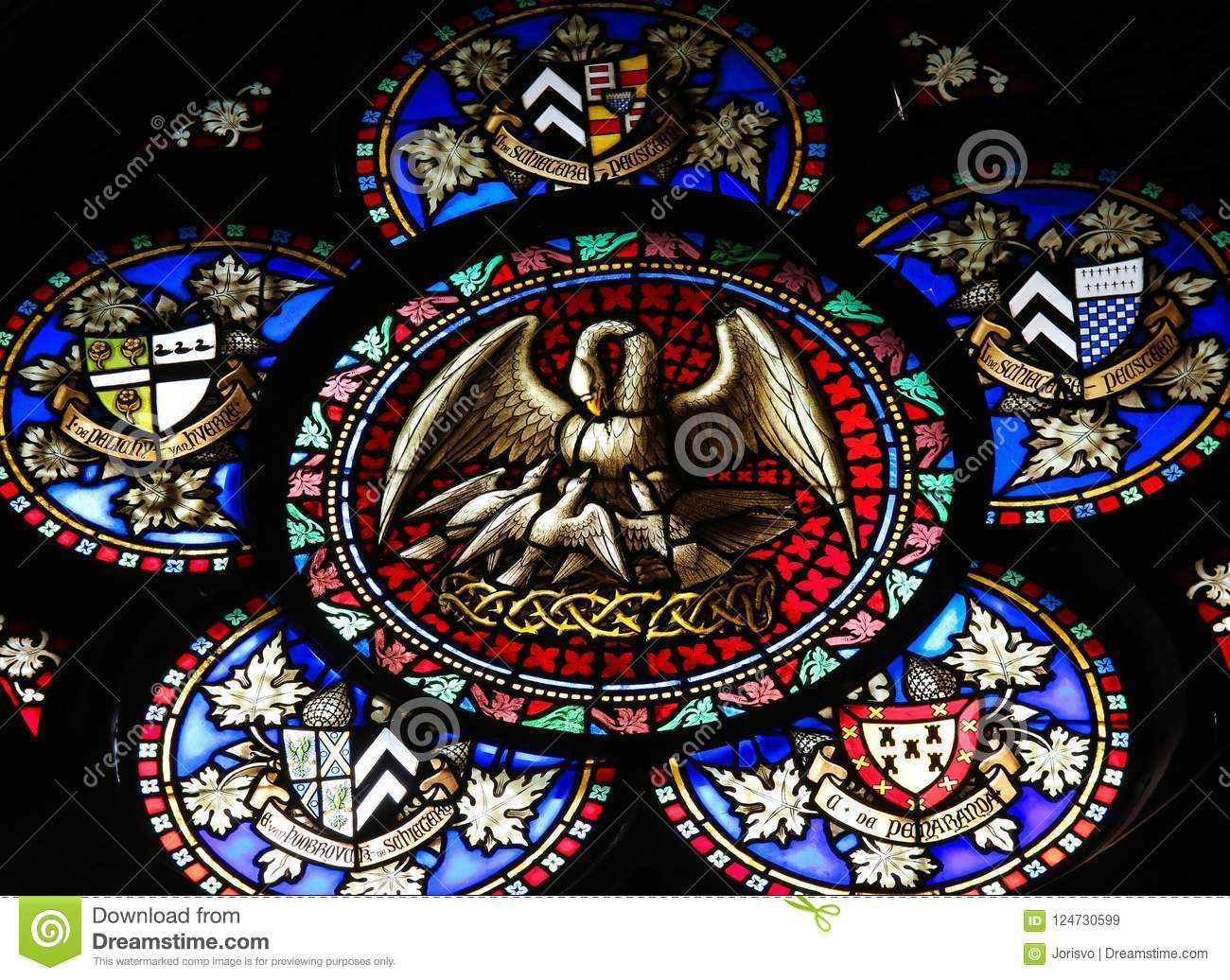 Symbolism Of The Pelican Stained Glass Stock Image Image Of Holy