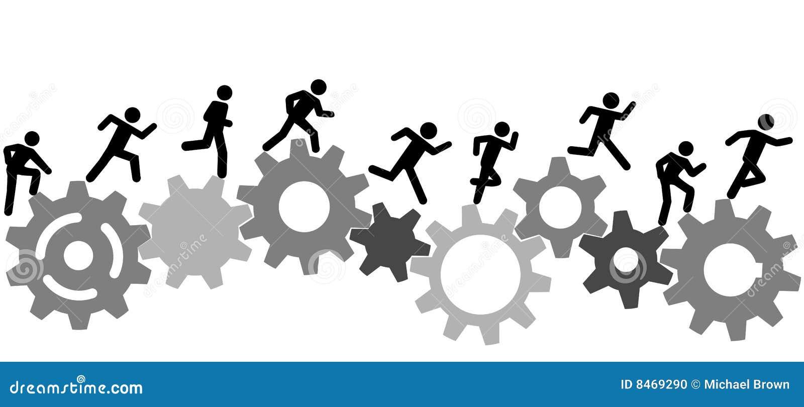 Symbolleute lassen ein Rennen auf Industriegängen laufen