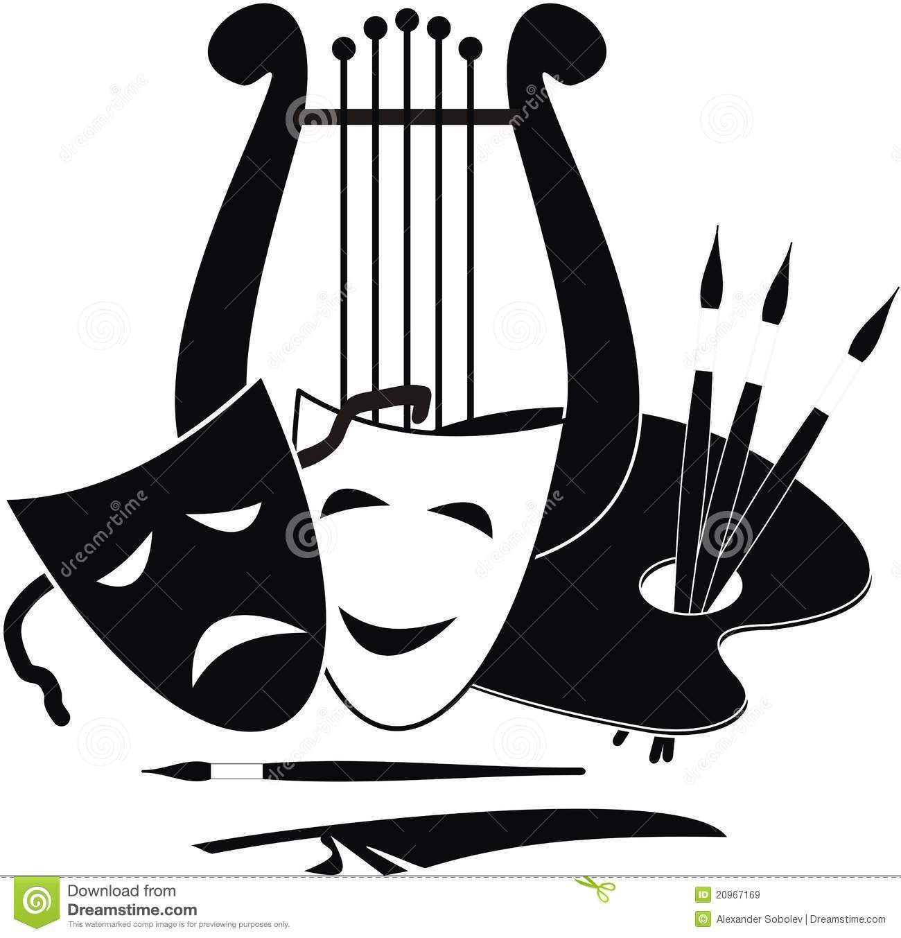Artistic Symbols: Symbols Of Arts, Music. And Theater Stock Vector